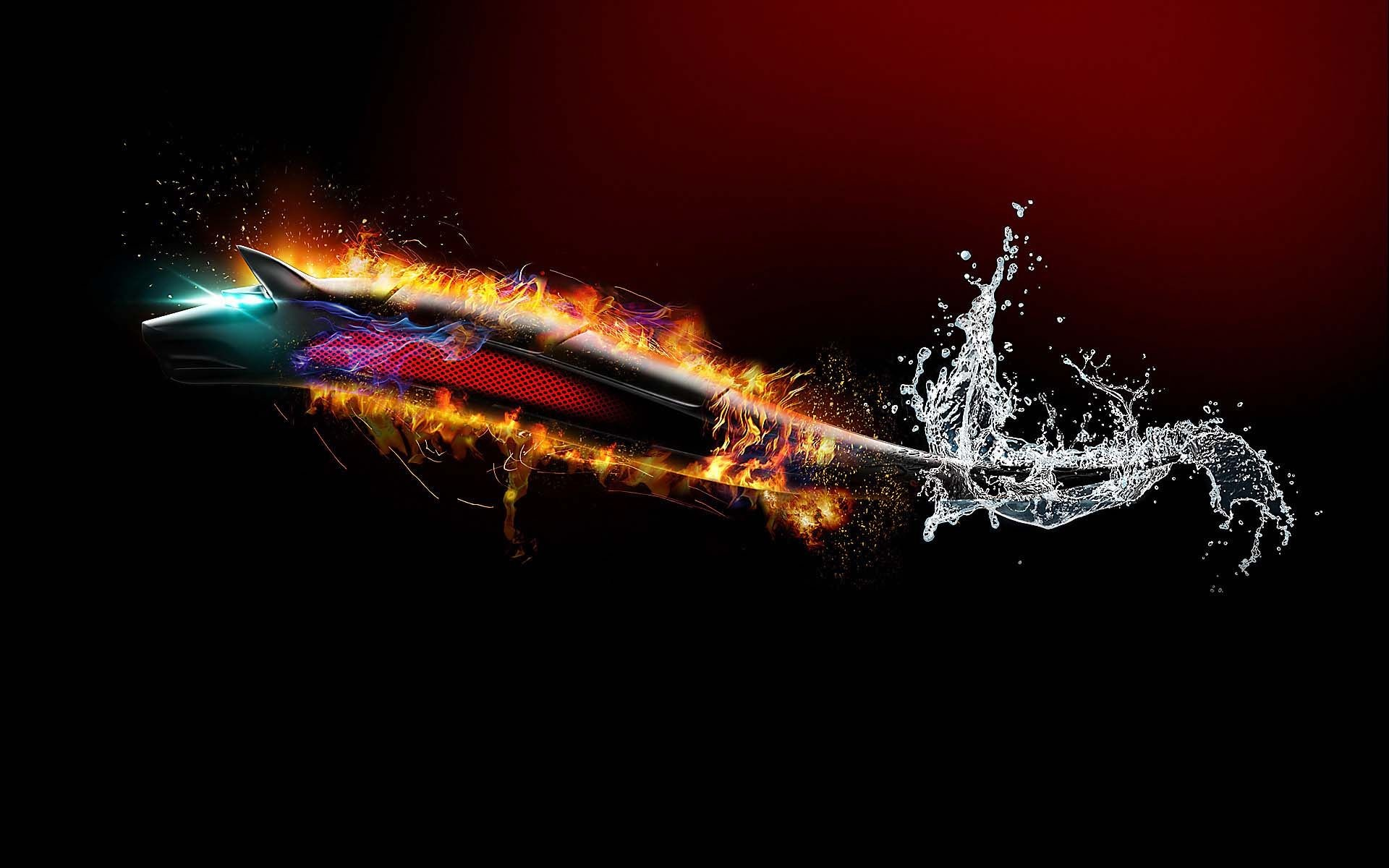 Flaming Wolf From Water   HD 3D and Abstract Wallpaper Free Download …