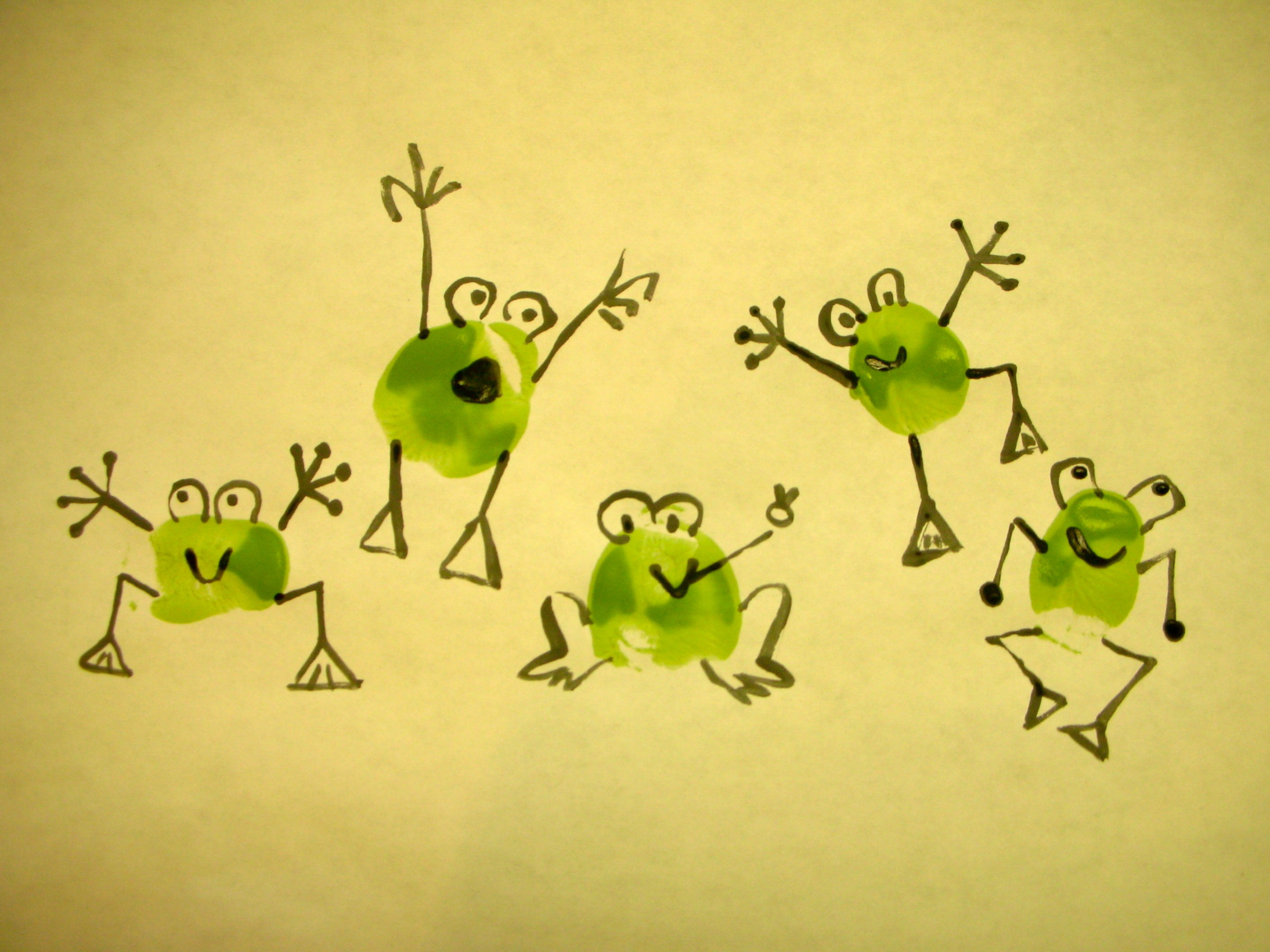 Thumbprint funny frogs