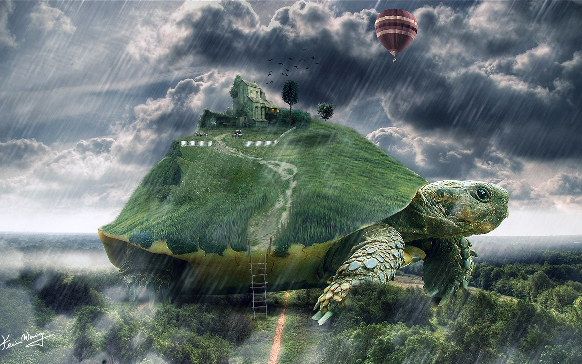 Wallpaper world on turtle