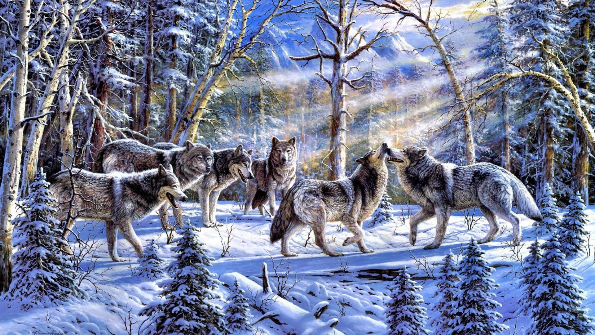 Title. Pack of wolves …