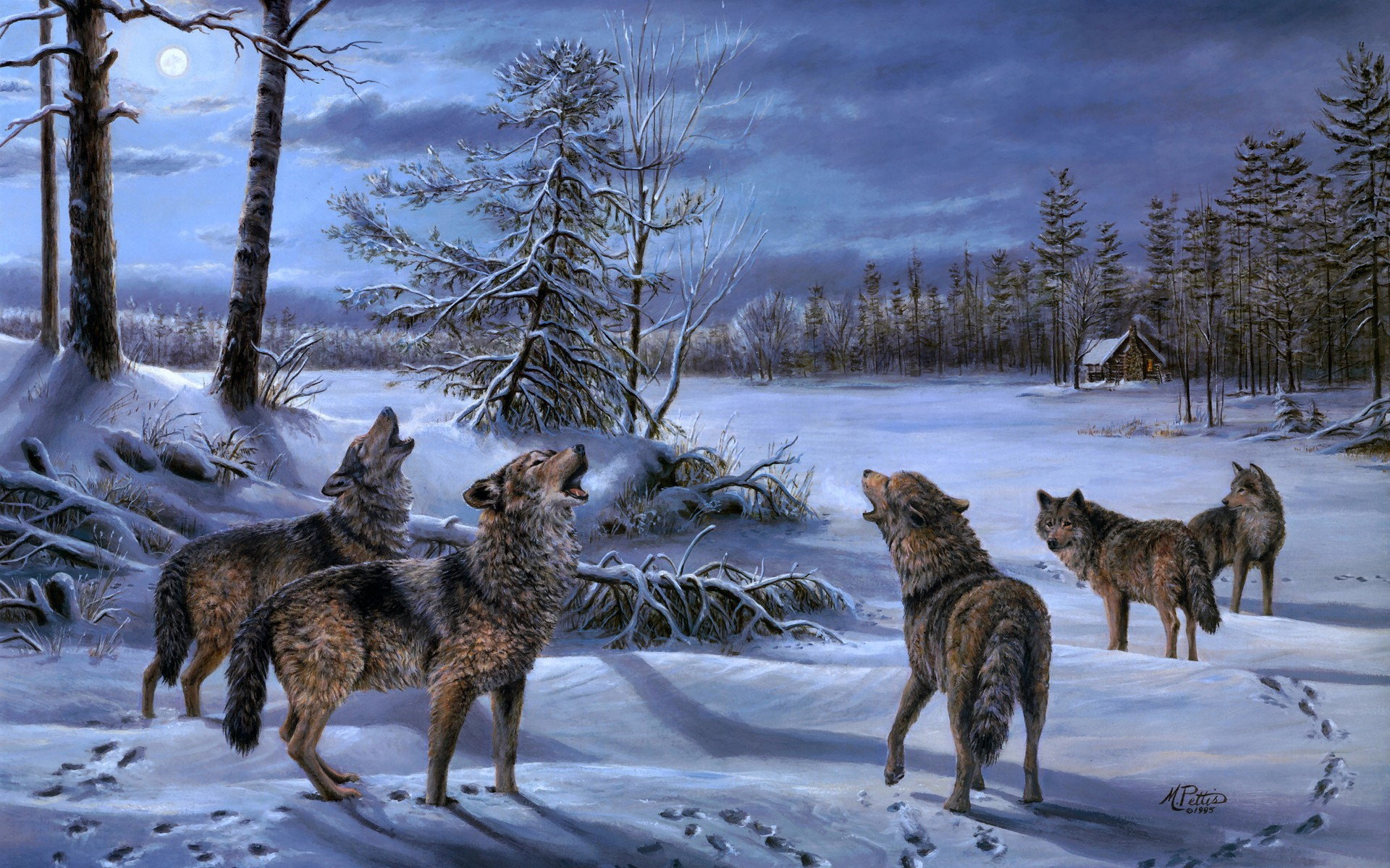 A pack of wolves howling at the moon