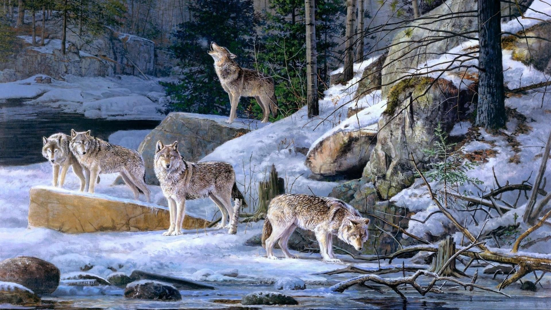Pack of wolves in the winter forest – Painting art wallpaper
