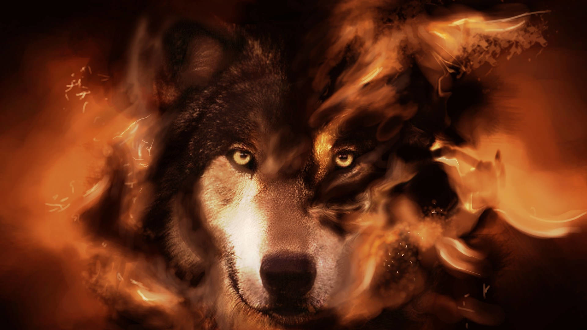 Graphically Designed Wolf Wallpaper