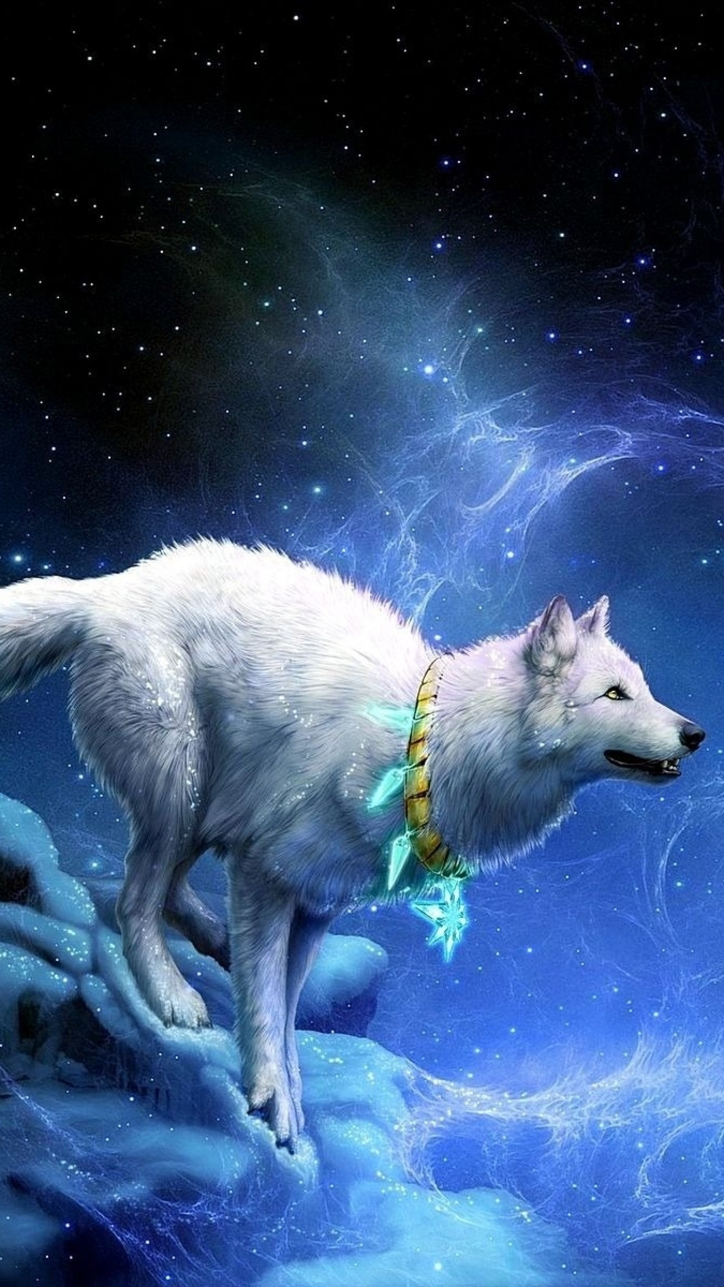 Preview wallpaper wolf, arrivals, moon, breakage 1440×2560