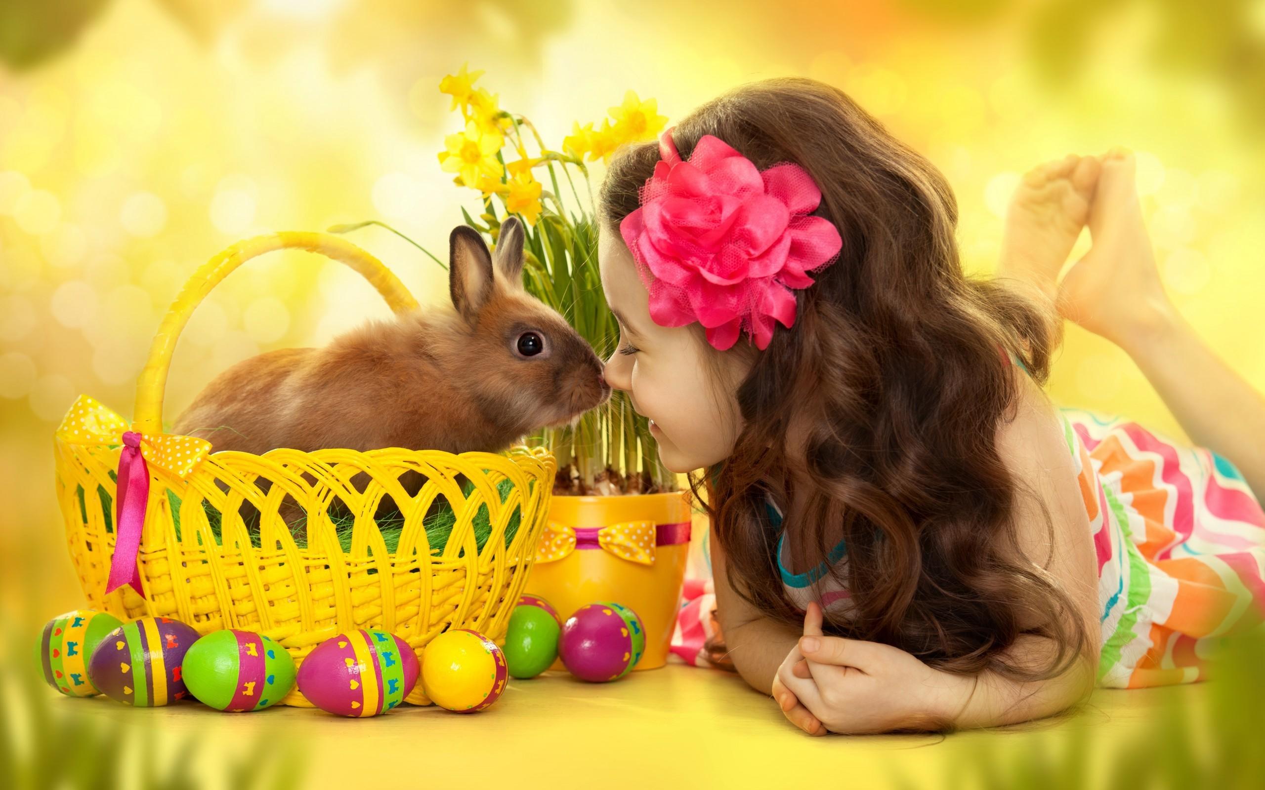 Holiday – Easter Holiday Little Girl Bunny Basket Easter Egg Flower Cute  Wallpaper