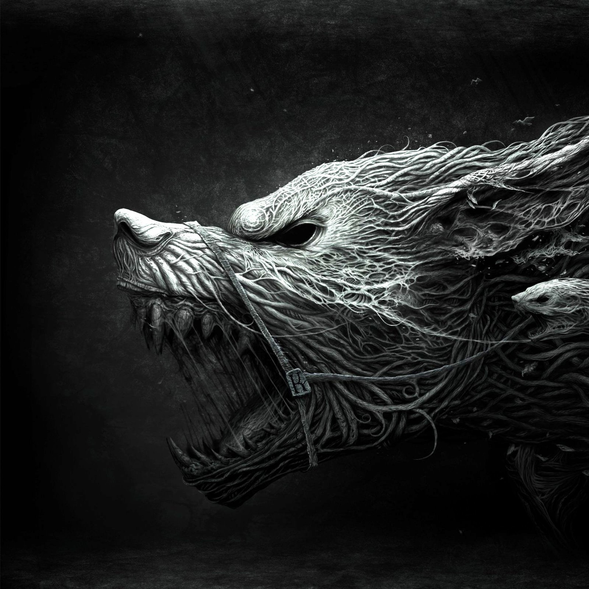 Preview wallpaper wolf, teeth, drawing, aggression, black, white 2048×2048