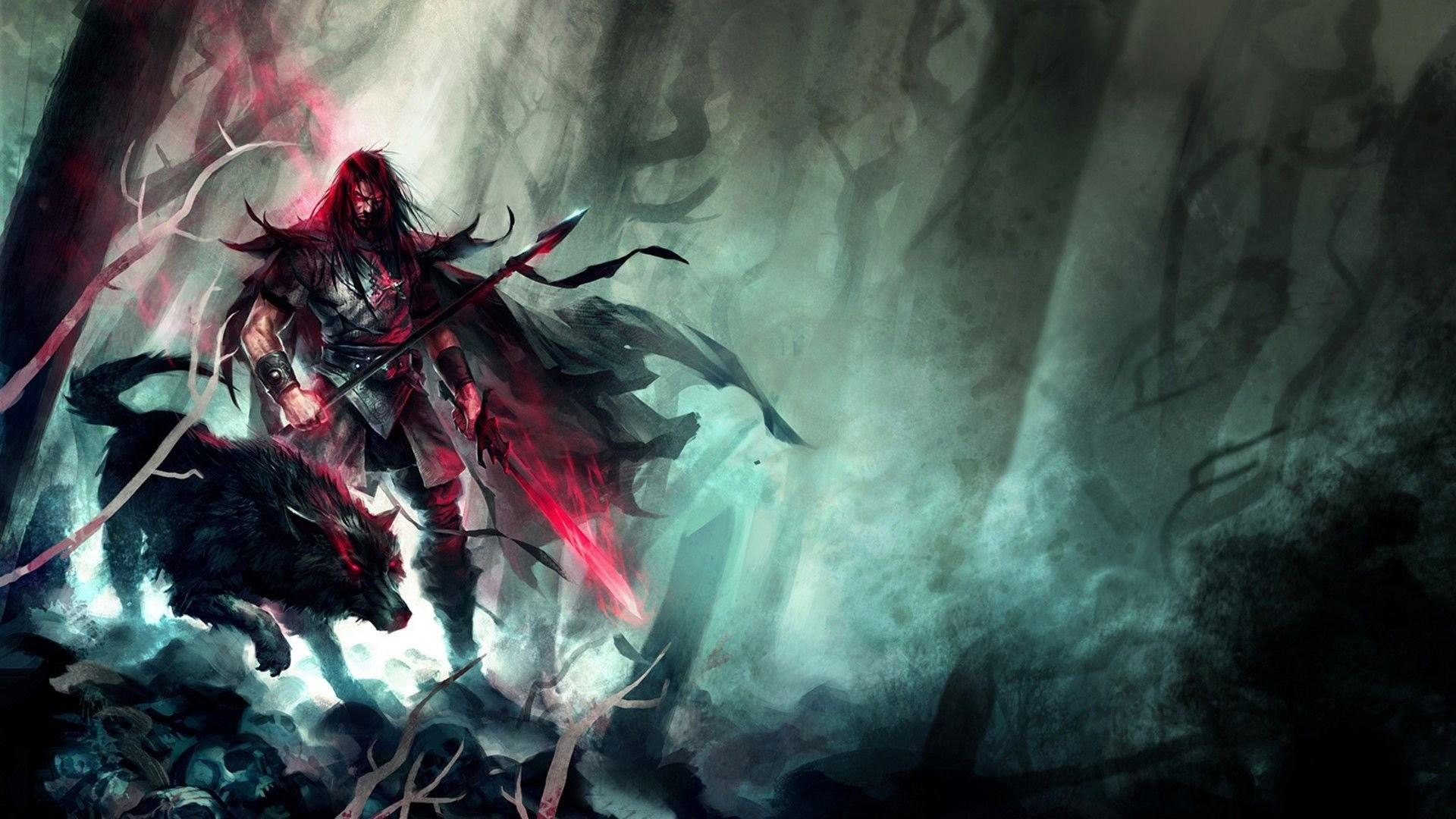 Spear Warrior Next To Black Wolf