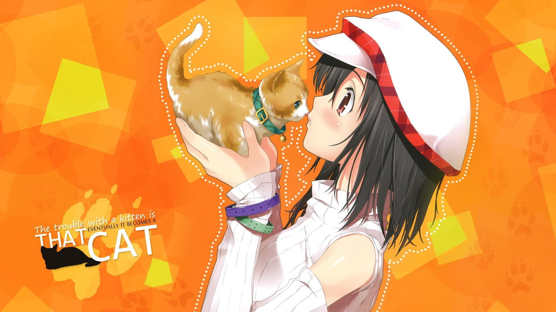 Anime Girl With Cat 817118 …