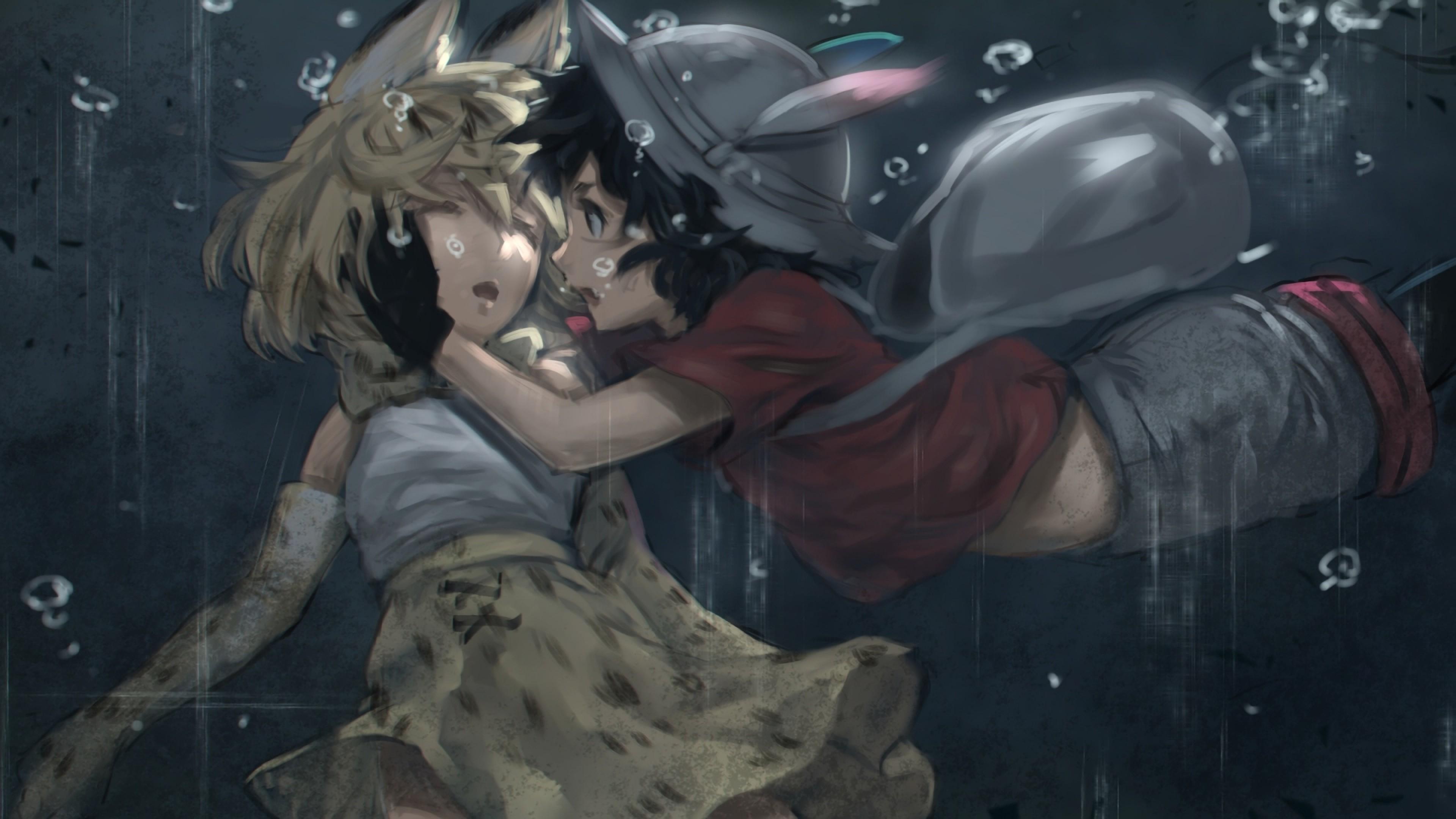 Cat Girl, Anime Girls, Drowning, Underwater, Animal Ears, Bubbles