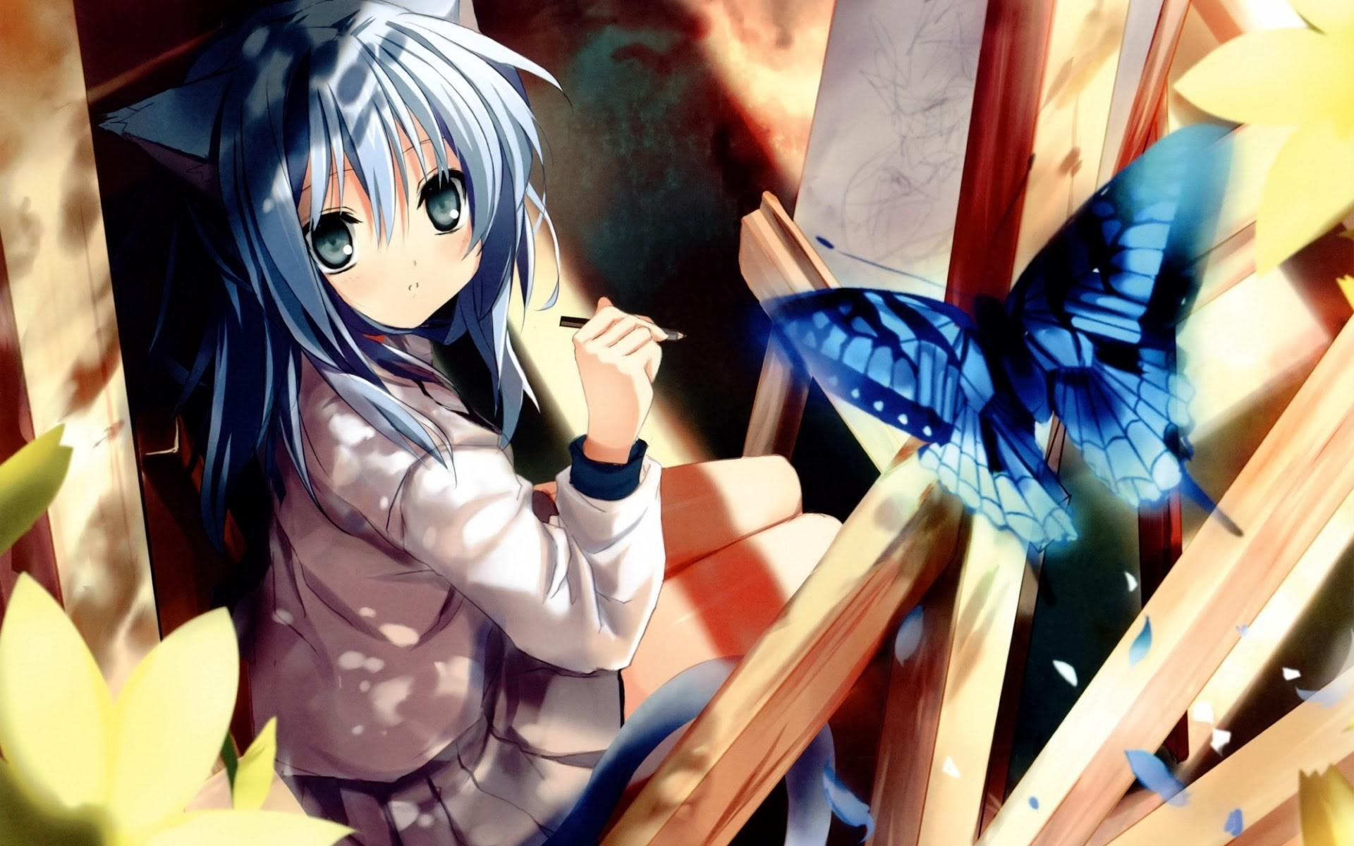 Neko Anime Cat Girl Butterfly Hd Wallpaper 1920 1200 B040