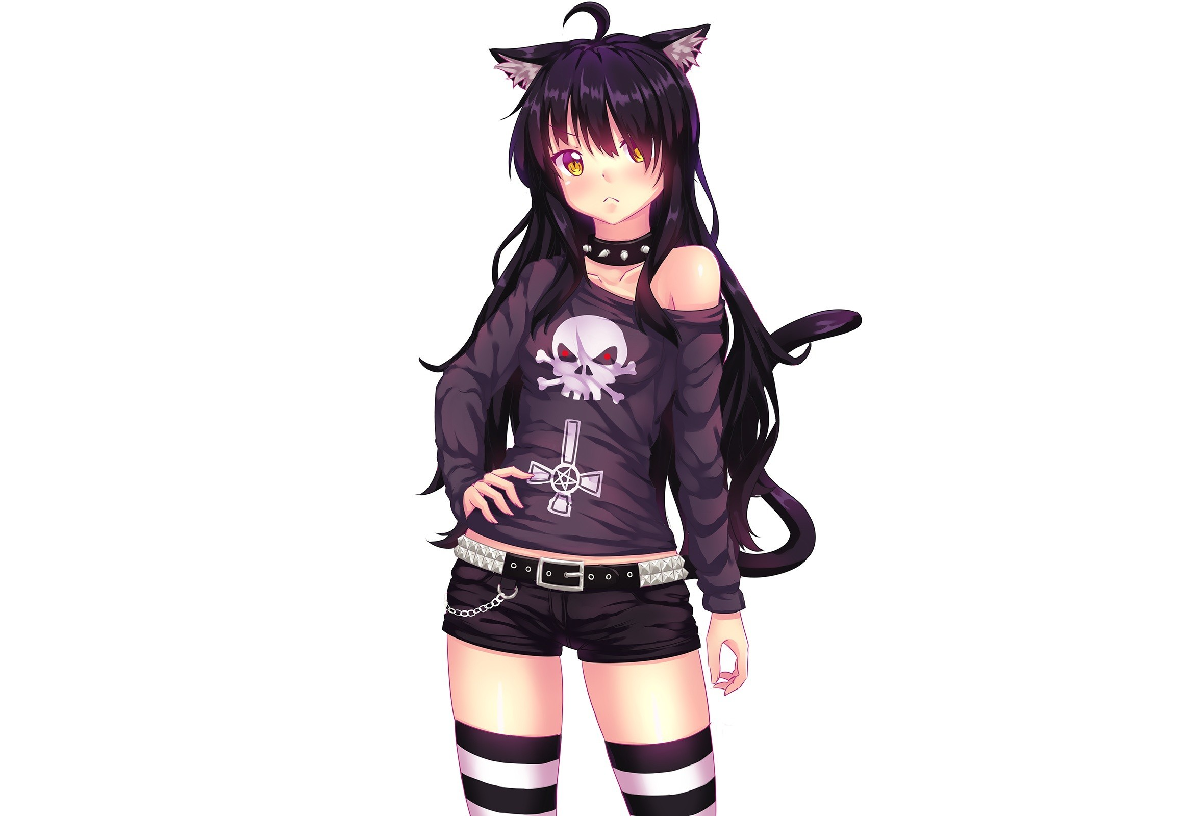 Anime white background simple background animal ears black hair cat  girl chains choker fast-