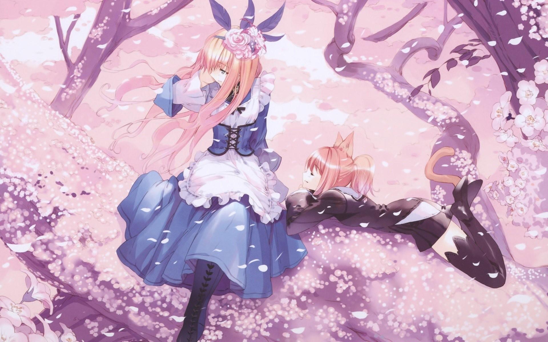 Trees Anime Girls Cat Ears Cherry Blossom Dresses