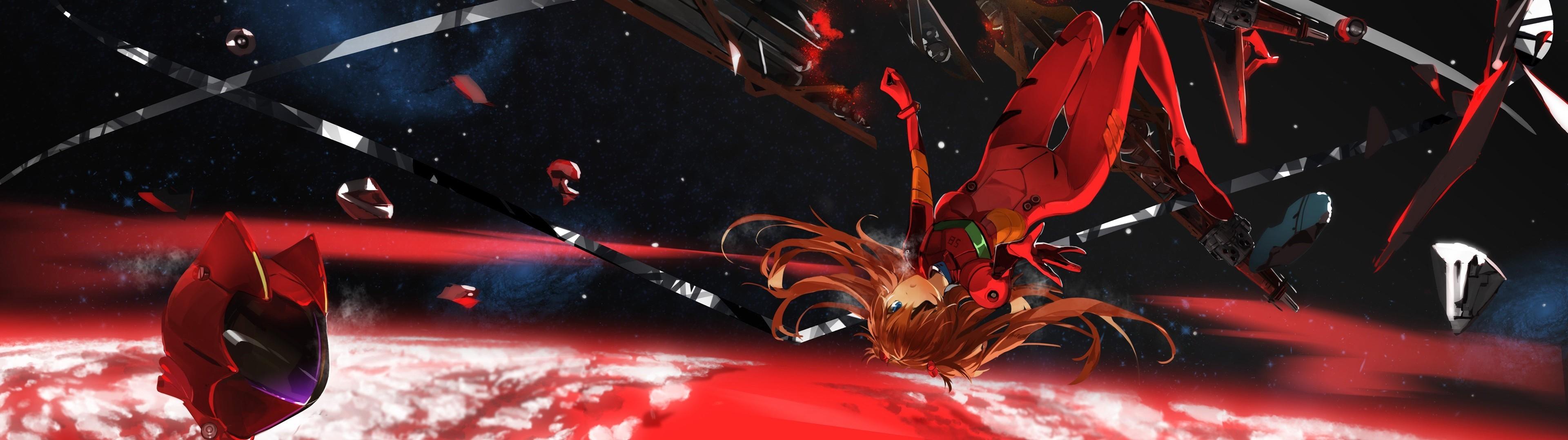anime · dual screen · Asuka Langley Soryu · EVA Unit 02 · Neon Genesis  Evangelion