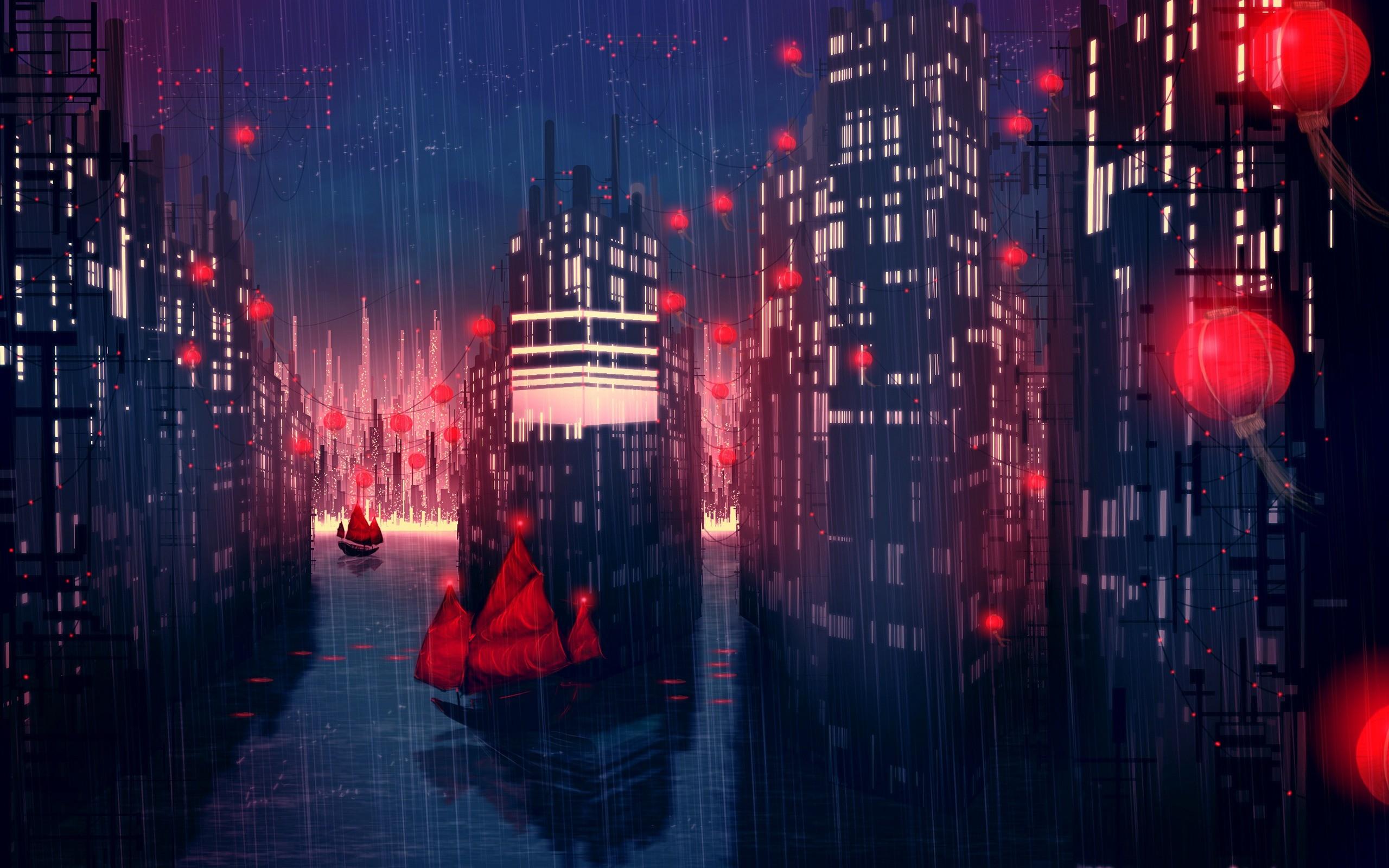 Night Anime Scenery Wallpaper 6