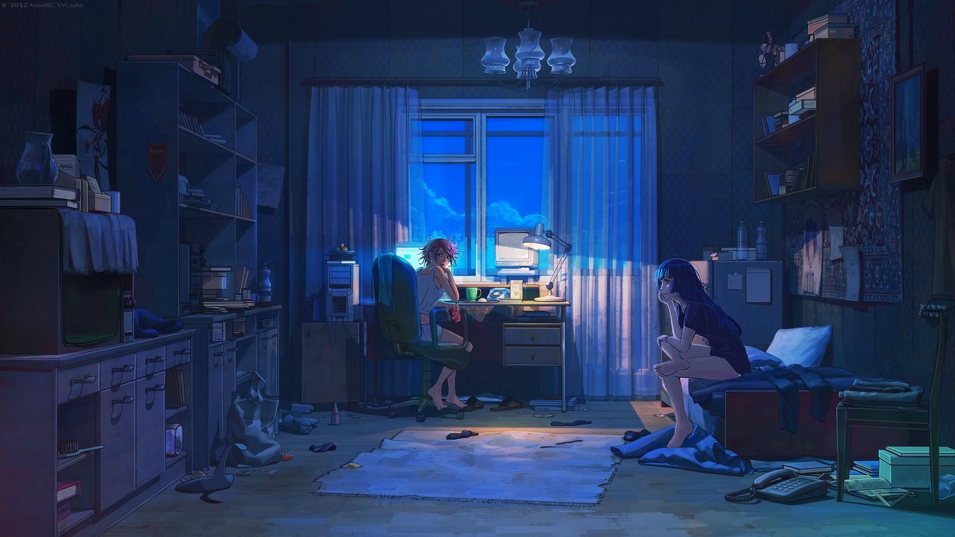 Bedroom House Anime Scenery Background Wallpaper
