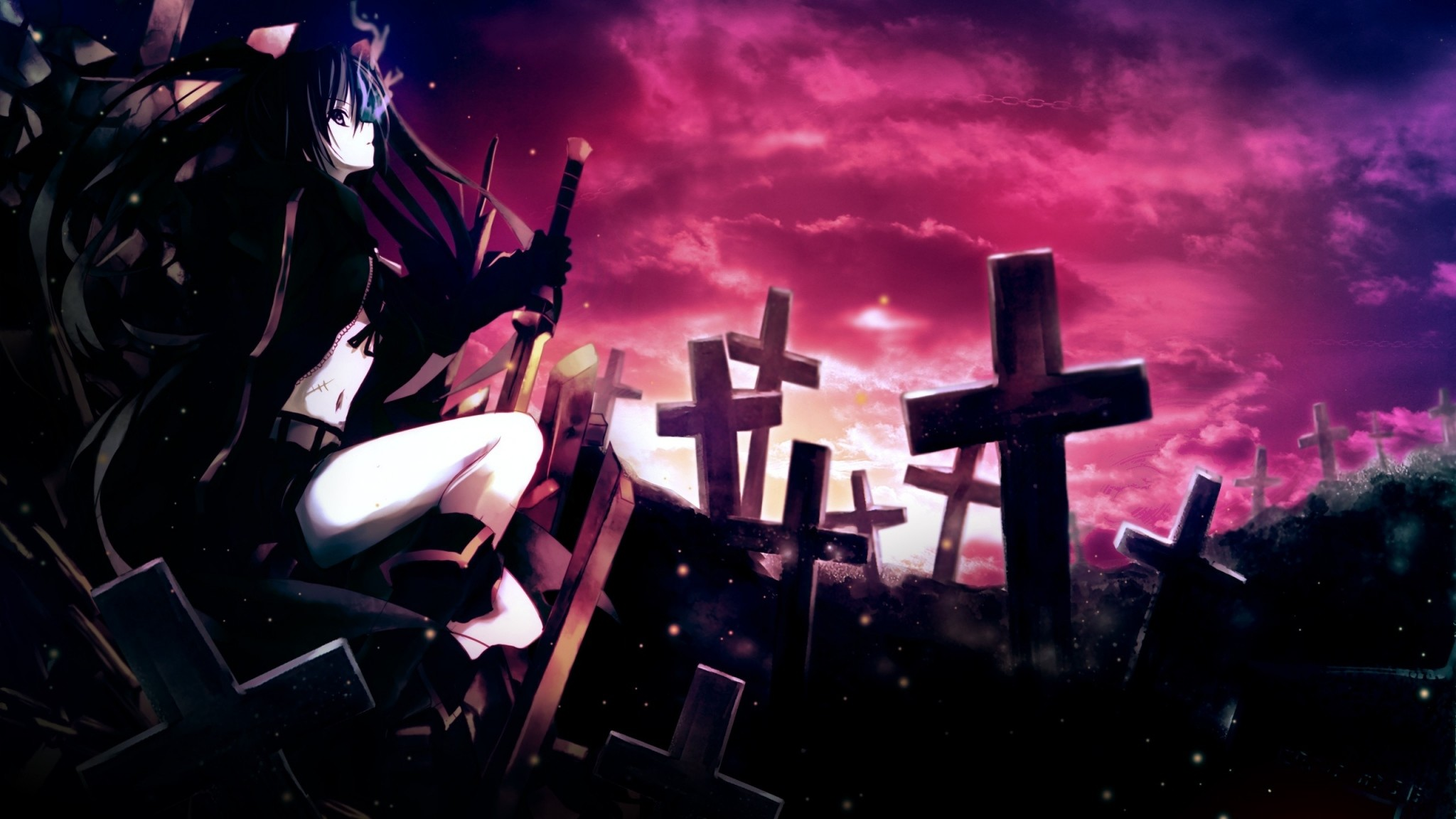 Preview wallpaper anime, girl, thoughtful, sword, cemetery, darkness  2048×1152