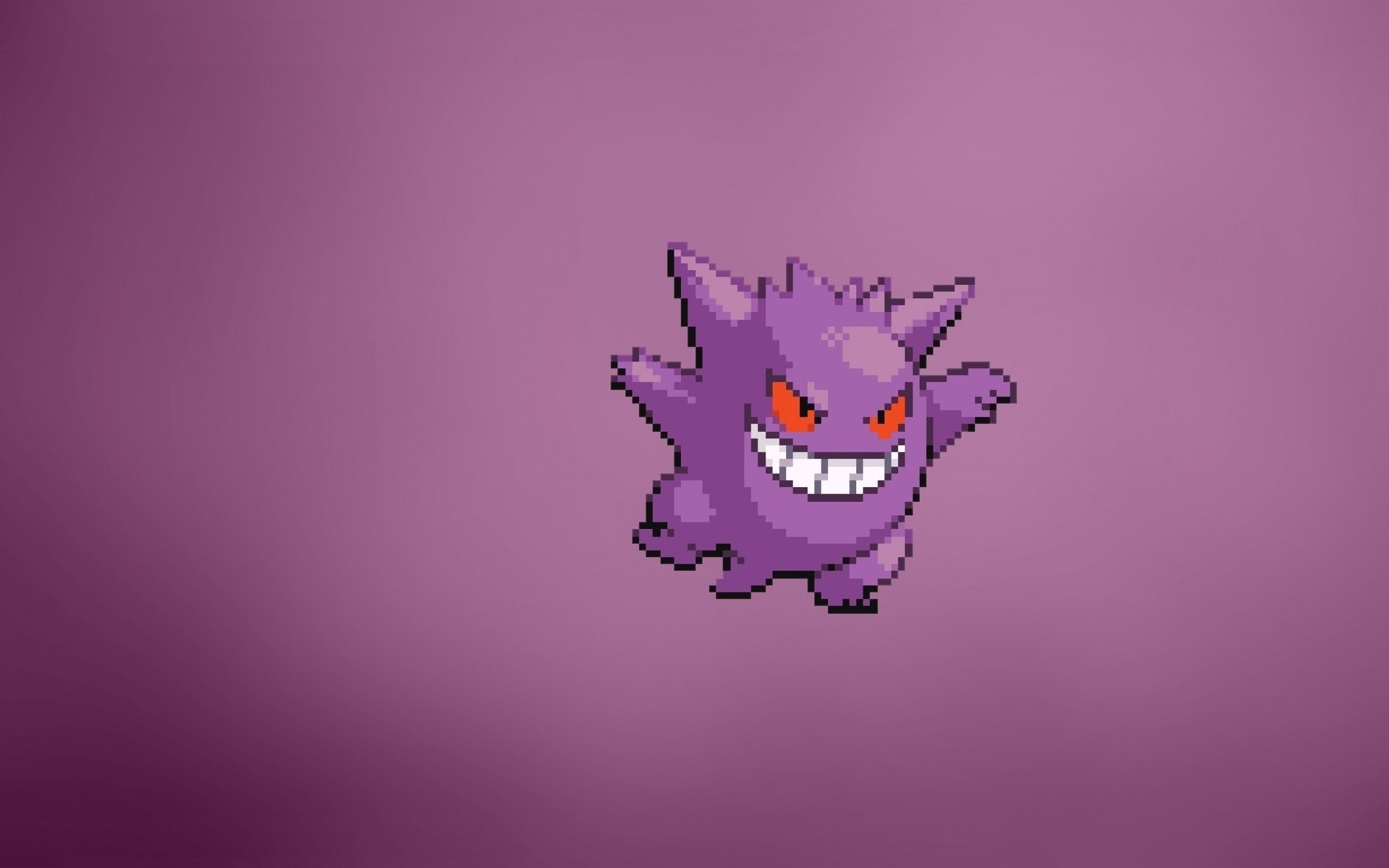 pokemon video games minimalistic purple gengar anime simple background  1366×768 wallpaper Wallpaper HD