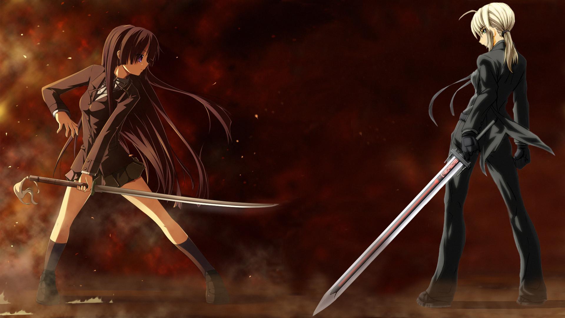 Anime – Crossover Girl Sword Showdown Fate/Stay Night K-ON! Mio Akiyama