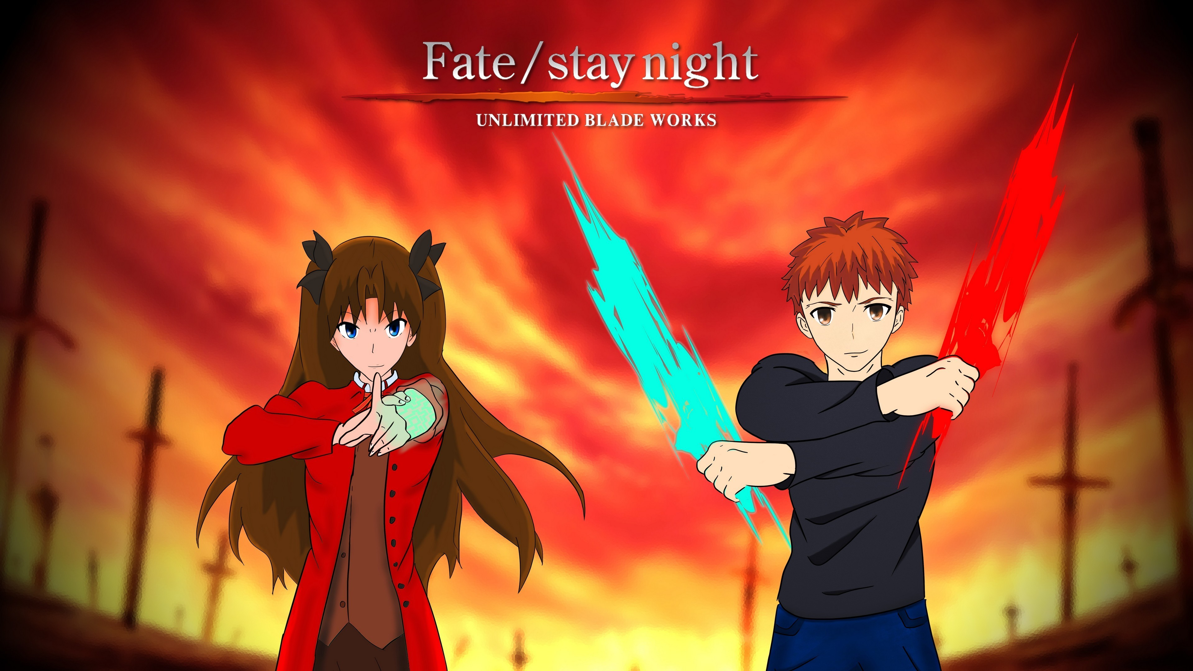 Stay Night Unlimited Blade Works Shirou Emiya Rin Tohsaka Wallpaper