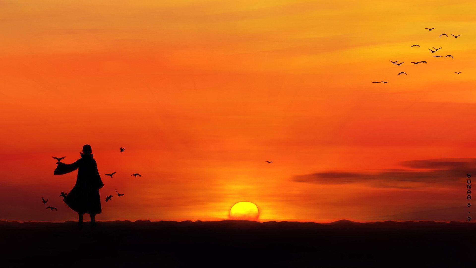 Itachi Uchiha Sunset Anime Landscape Wallpaper HD 3180
