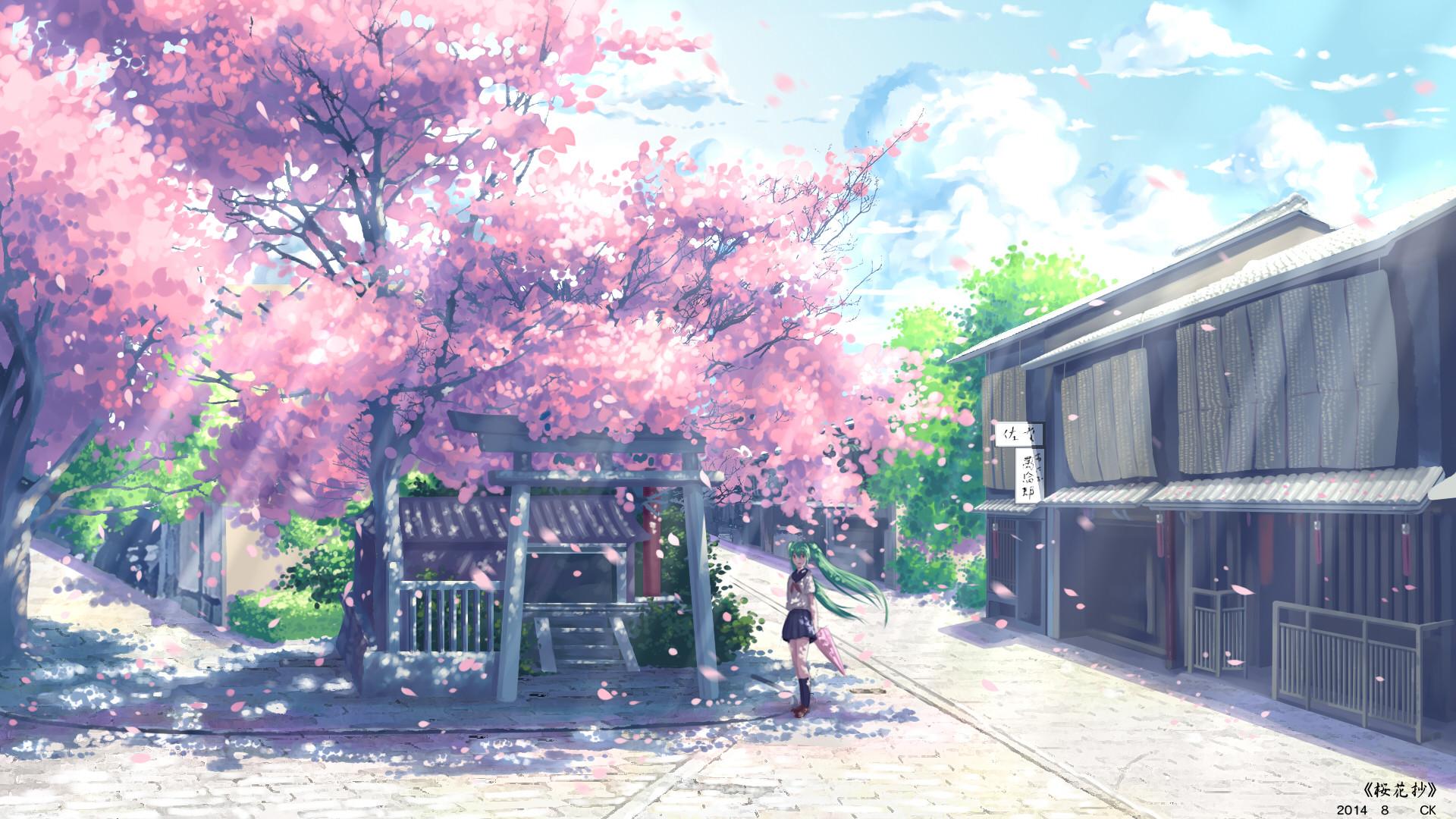 Vocaloid, Hatsune Miku, Anime, Cherry Blossom, School Uniform Wallpapers HD  / Desktop and Mobile Backgrounds