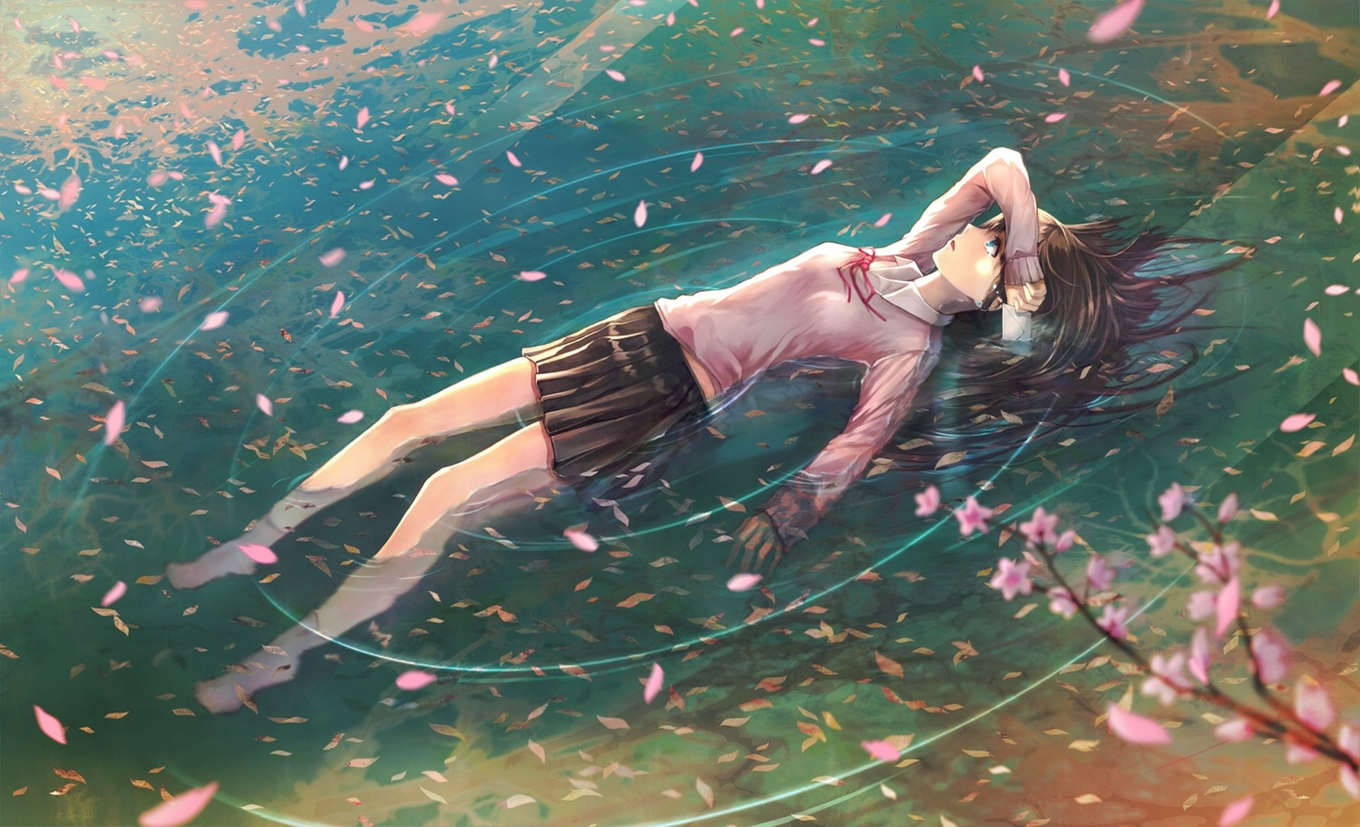 School Uniforms Anime Girls Floating Water Cherry Blossom