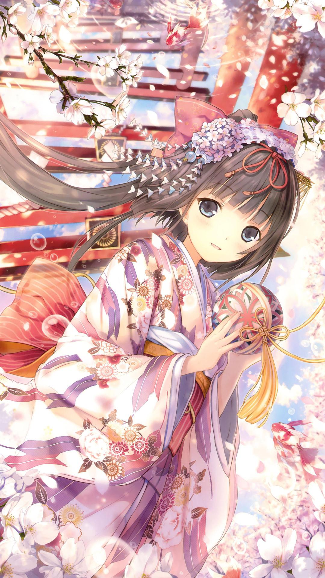 … Geisha among cherry blossoms Anime mobile wallpaper