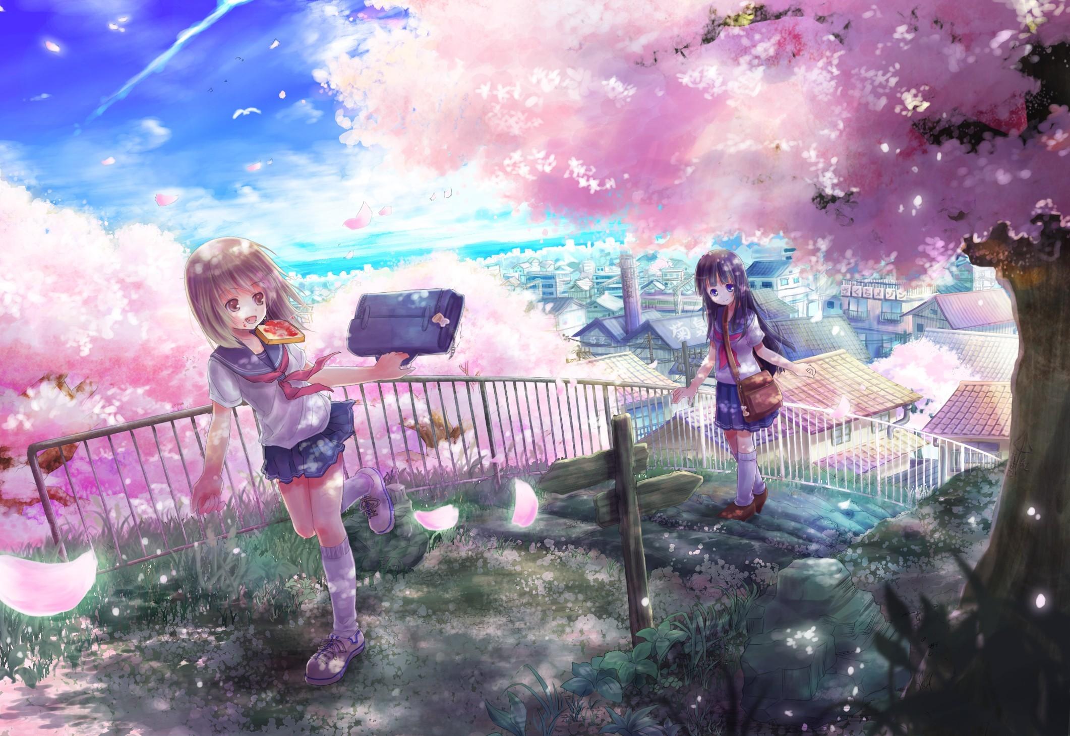 Anime Girls Bags Black Hair Bread Brown Eyes Brunettes Cherry Blossoms  Cityscapes Flowers Long School Uniforms Short Socks
