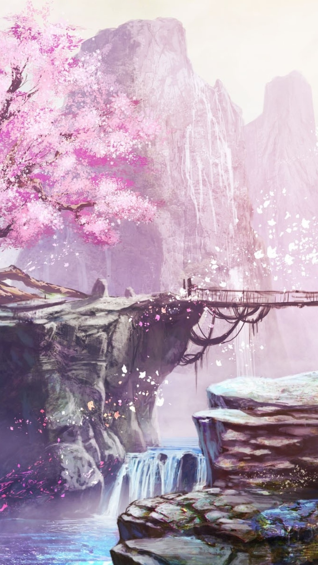 Anime Landscape, Cherry Blossom, Bridge, Waterfall, Anime Girl, Nature