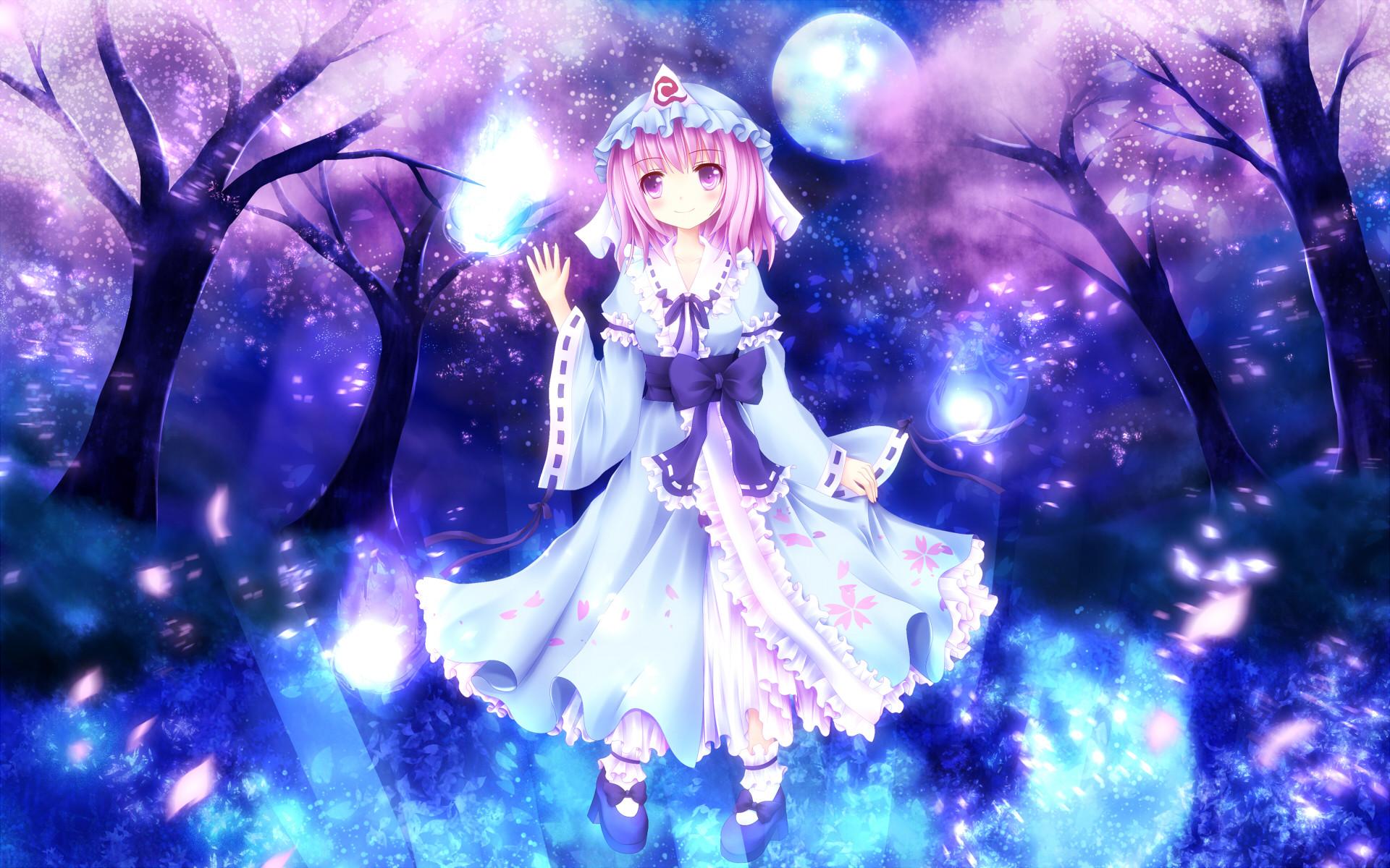Anime – Touhou Yuyuko Saigyouji Pink Hair Purple Eyes Dress MÃ¥nen Japanese  Clothes Bakgrund