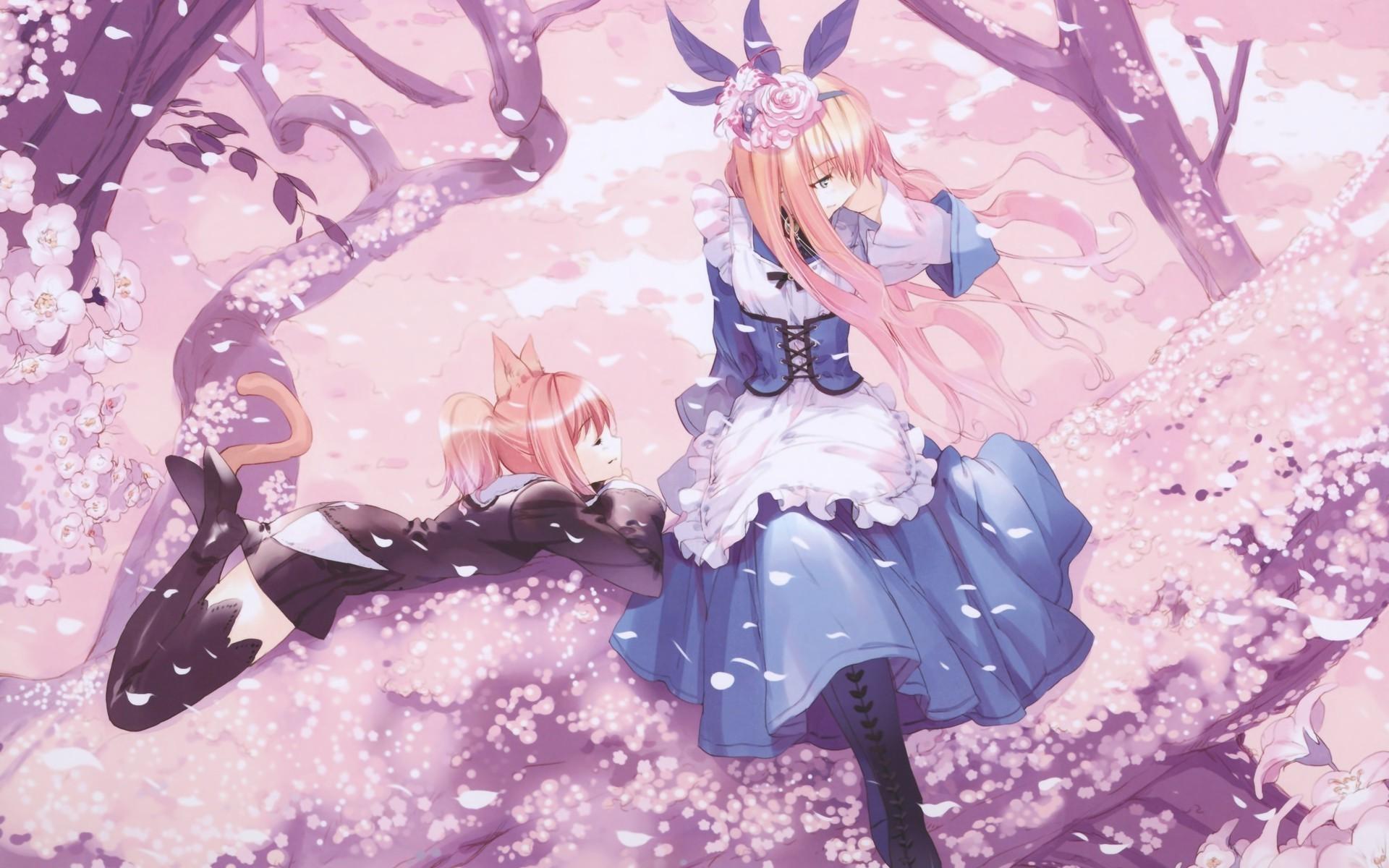 trees, Anime Girls, Cat Ears, Cherry Blossom, Dress, Anime, Alice In  Wonderland Wallpapers HD / Desktop and Mobile Backgrounds