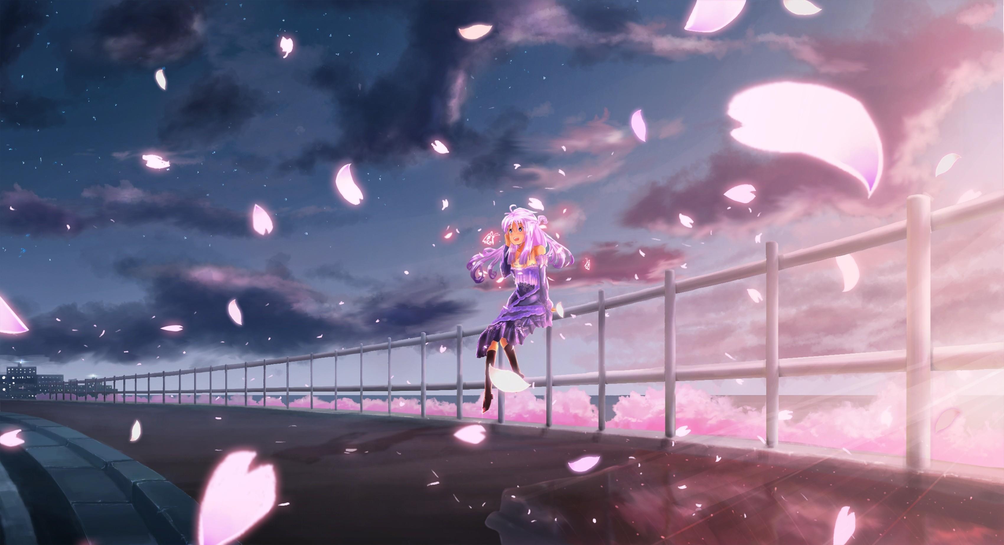 Anime cherry blossom sky clouds anime girls long hair anime