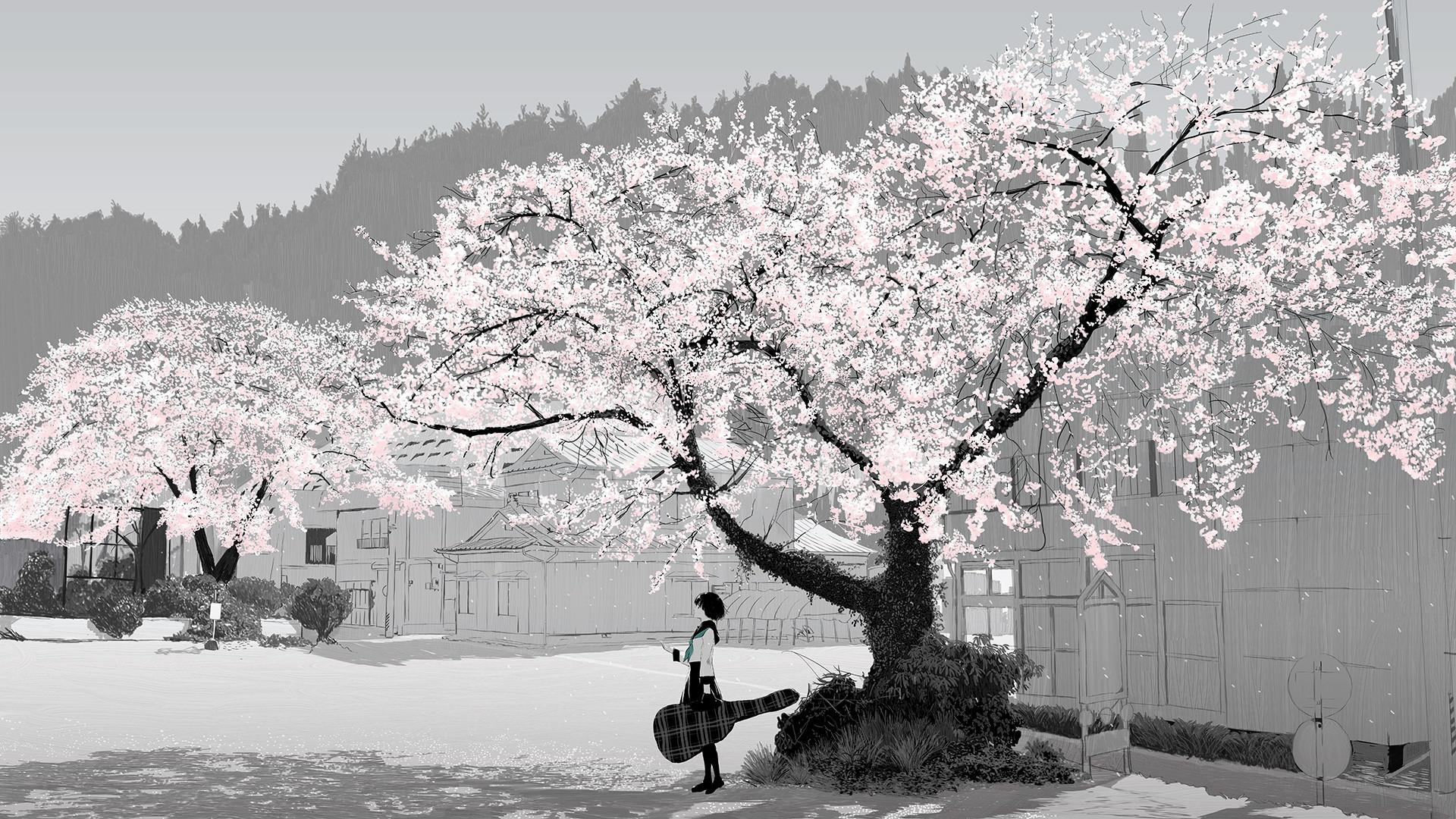 Anime – Original Original (Anime) Tree Sakura Blossom Guitar School Uniform  Skirt Short Hair