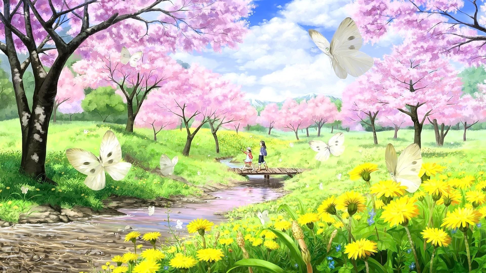 Anime anime anime girls long hair short hair butterfly cherry  blossom