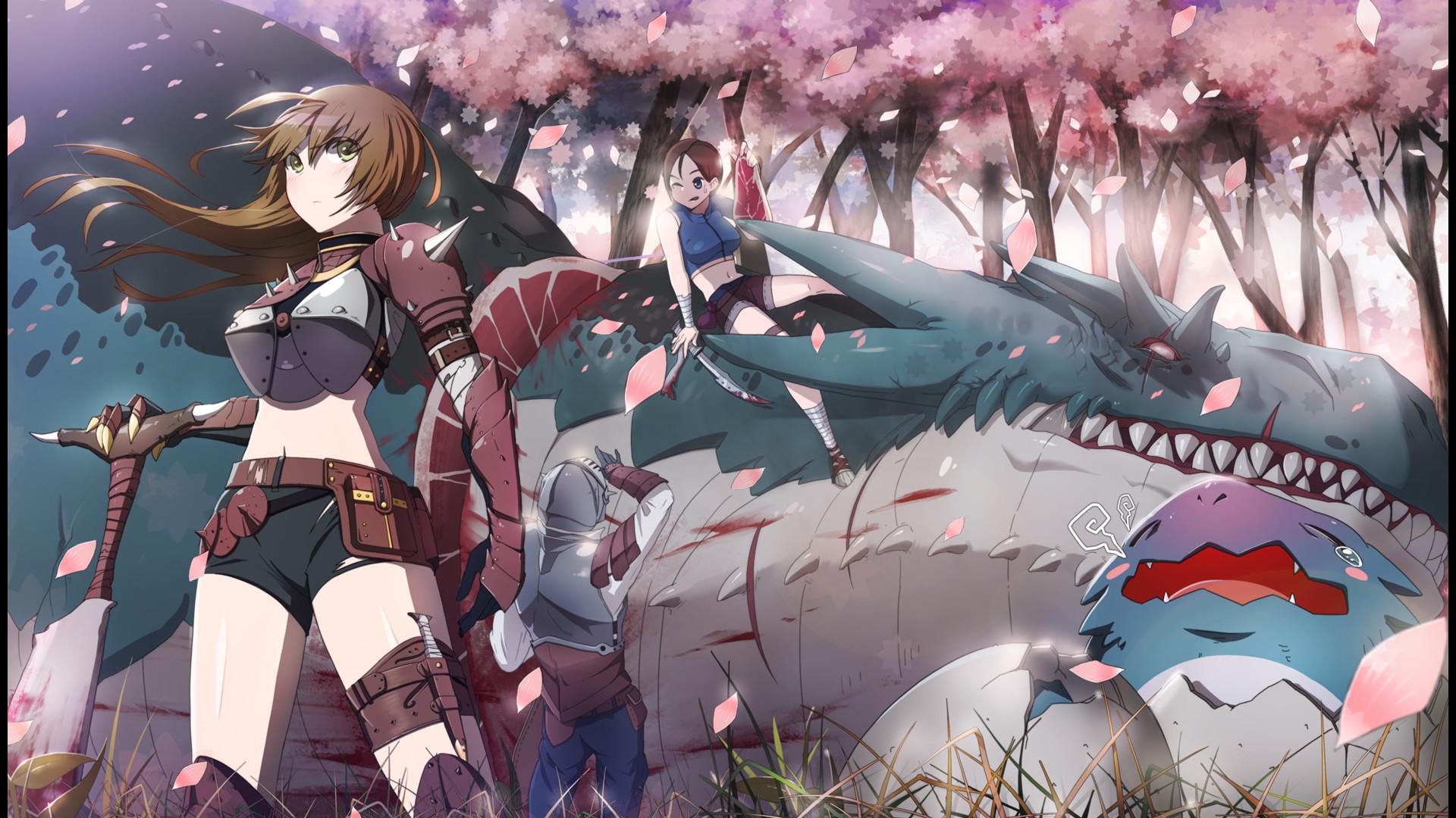 Anime – Original Anime Original (Anime) Mädchen Krieger Drachen Fantasy Cherry  Blossom Weapon Brown