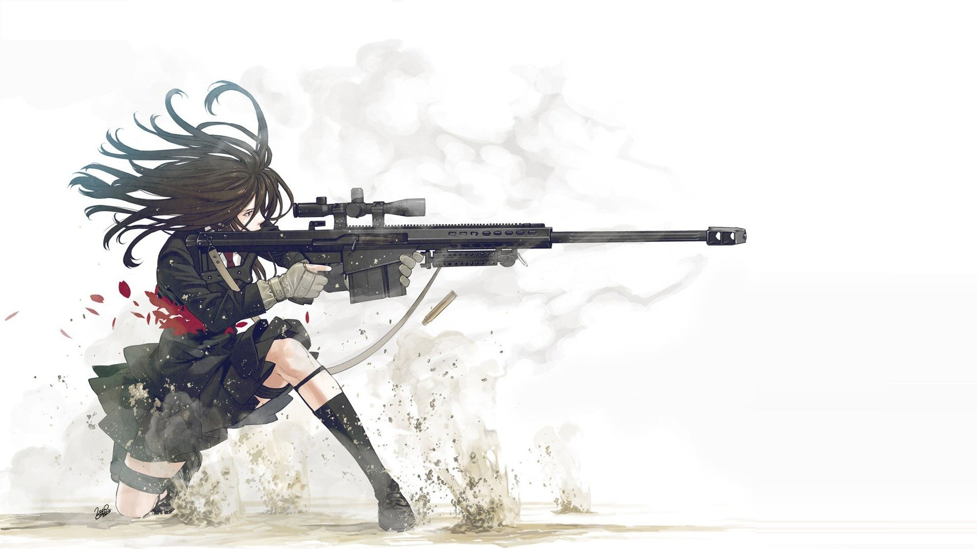 Anime Guns Weapons Manga Anime Girls White Background Sniper Rifles free  iPhone or Android Full HD wallpaper.