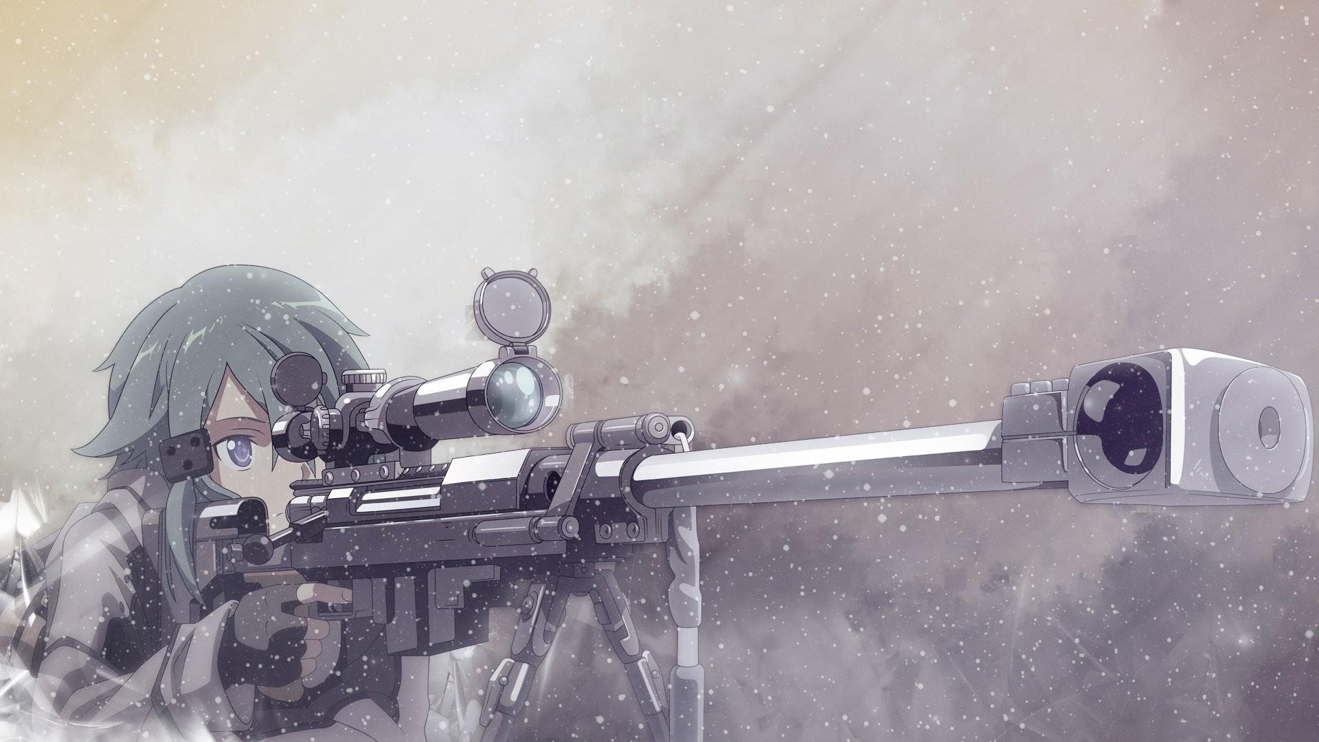 Sinon Gun Gale Online 2 Sniper Rifle Anime Girl Wallpaper 1920×1080 | Sword  Art Online – SAO | Pinterest | Gun gale online, Sword art online and Sword  art