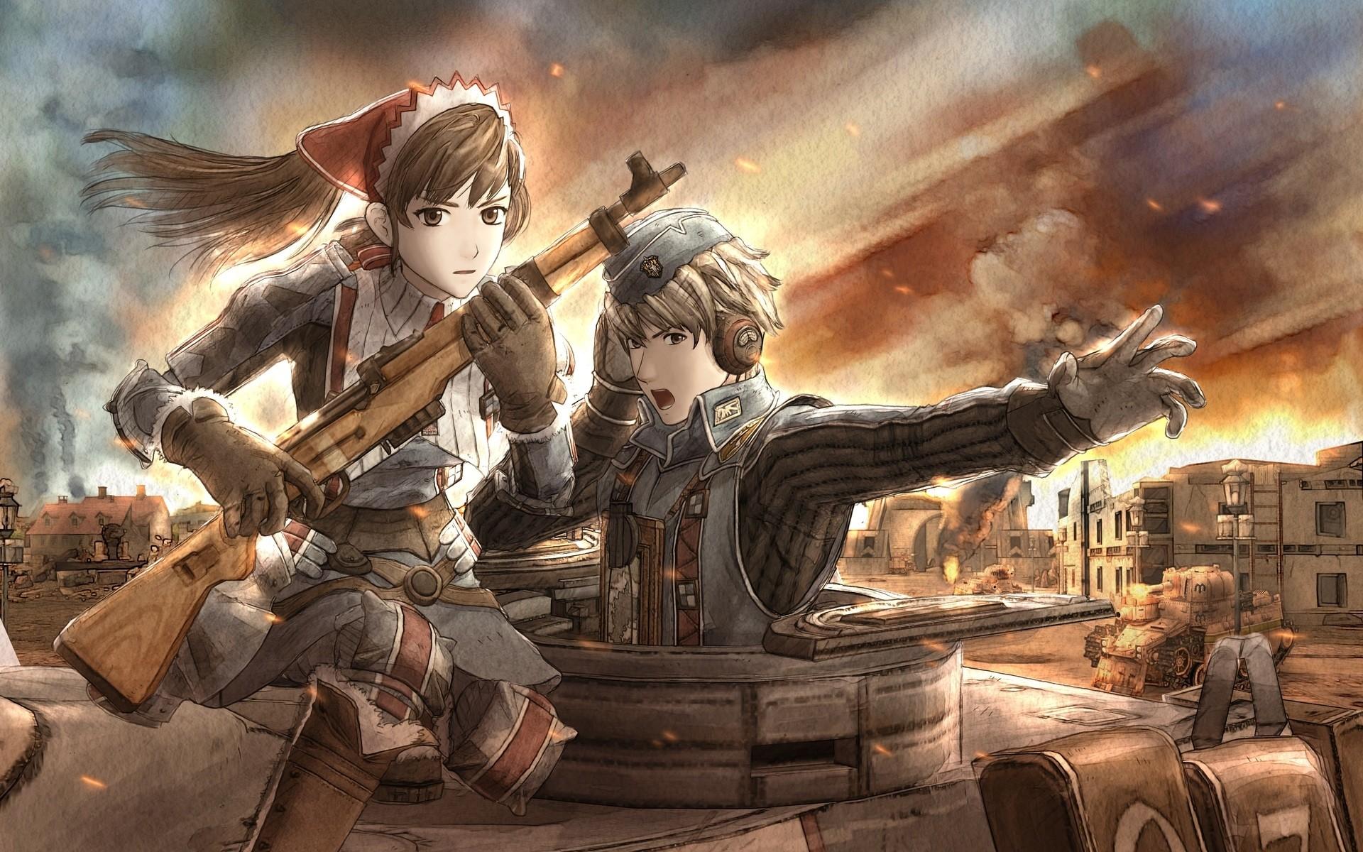 Wallpaper War, Anime, Gun, Boy, Girl