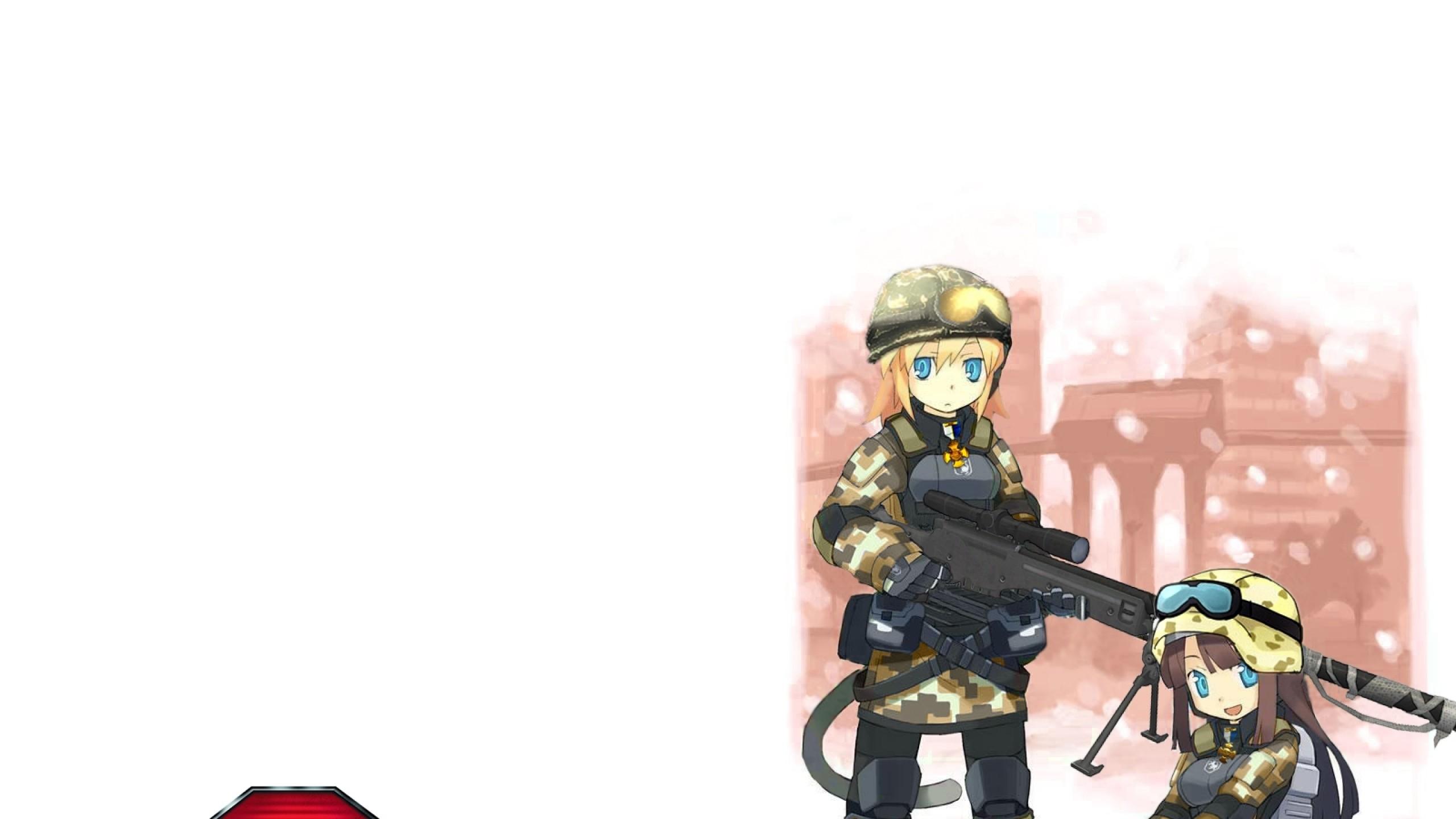 Wallpaper battlefield 2, anime, girls, balls, gun