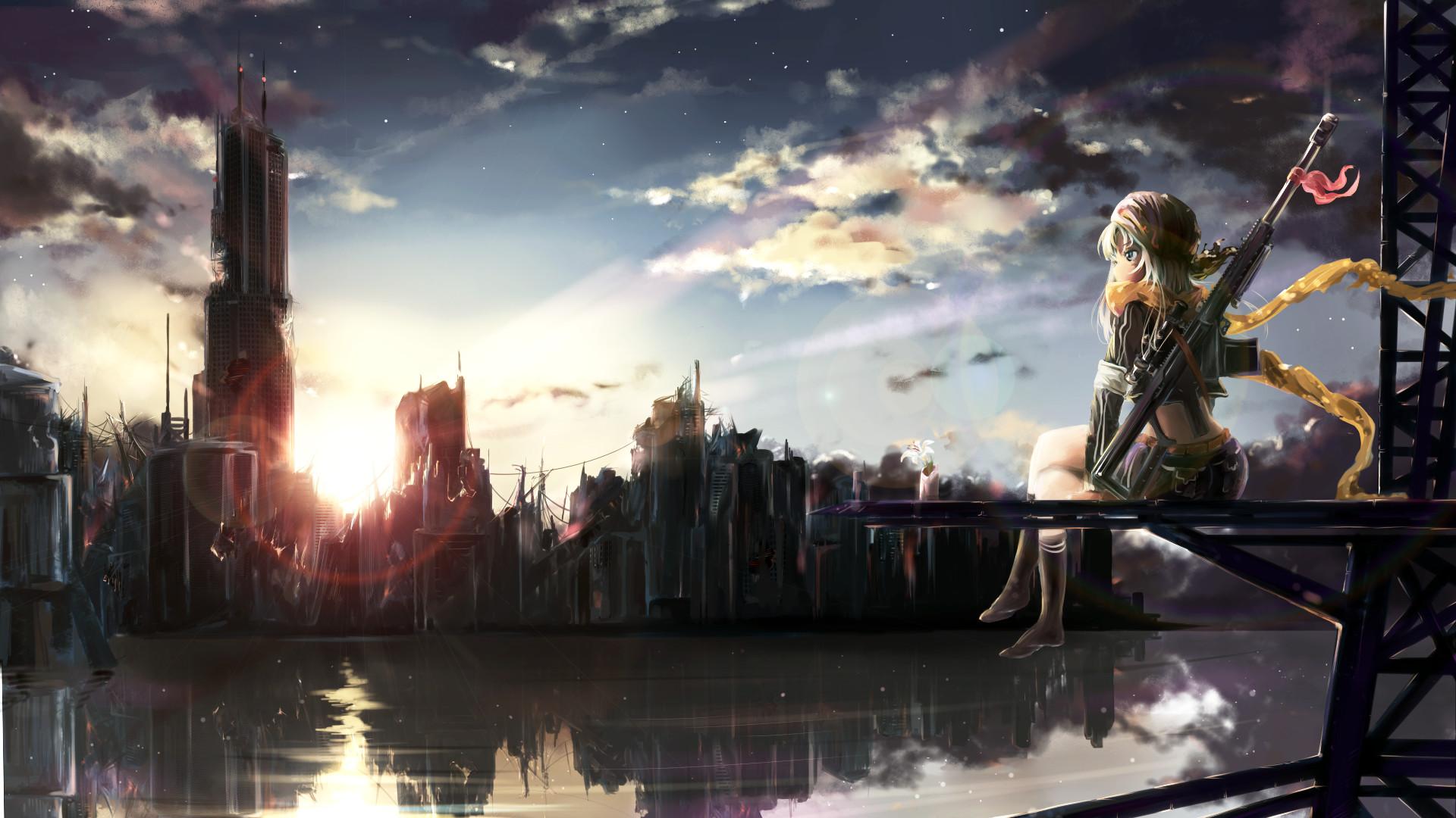 Anime – Original Girl City Ruin Post Apocalyptic Rifle Weapon Reflection  Anime Original (Anime)