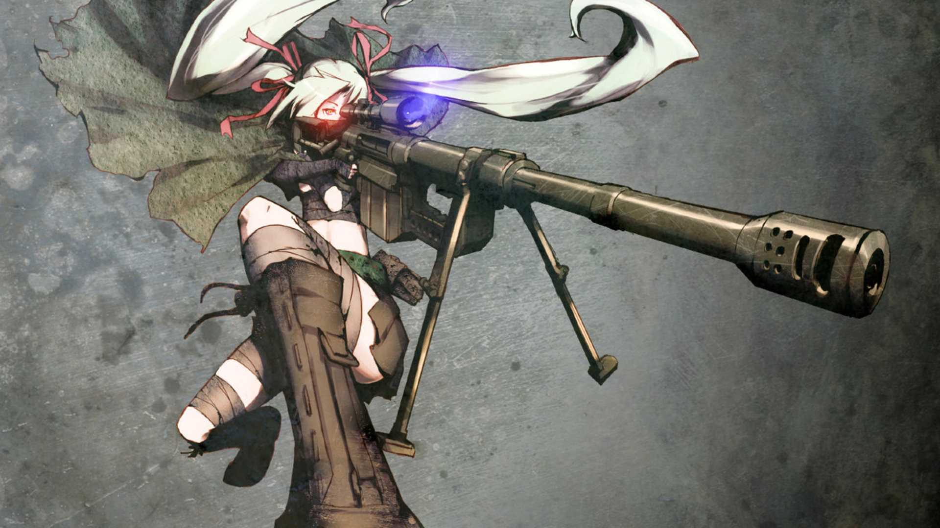 Anime Girls Guns M200 Original Characters Red Eyes Rifles Sniper Snipers  Twintails Upscaled Weapons White Hair …