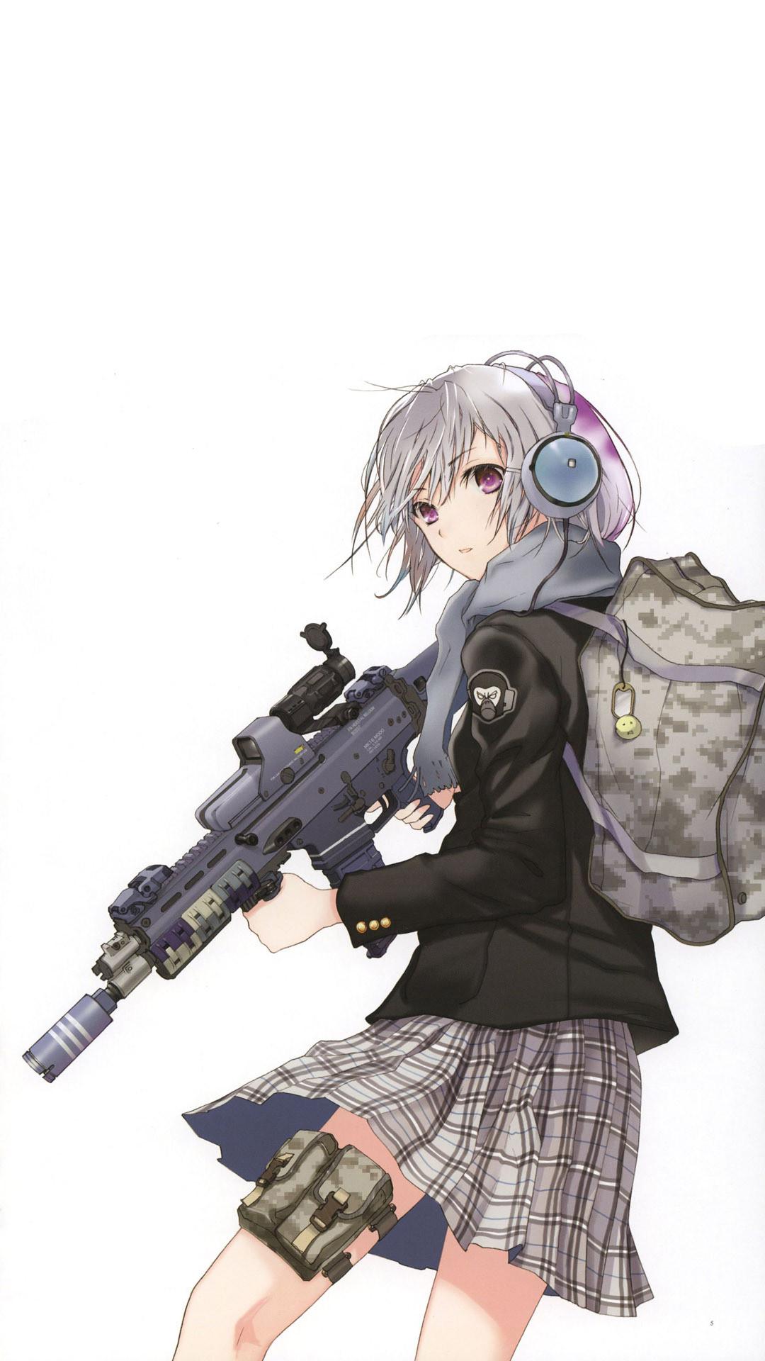 … Sniper schoolgirl Anime mobile wallpaper