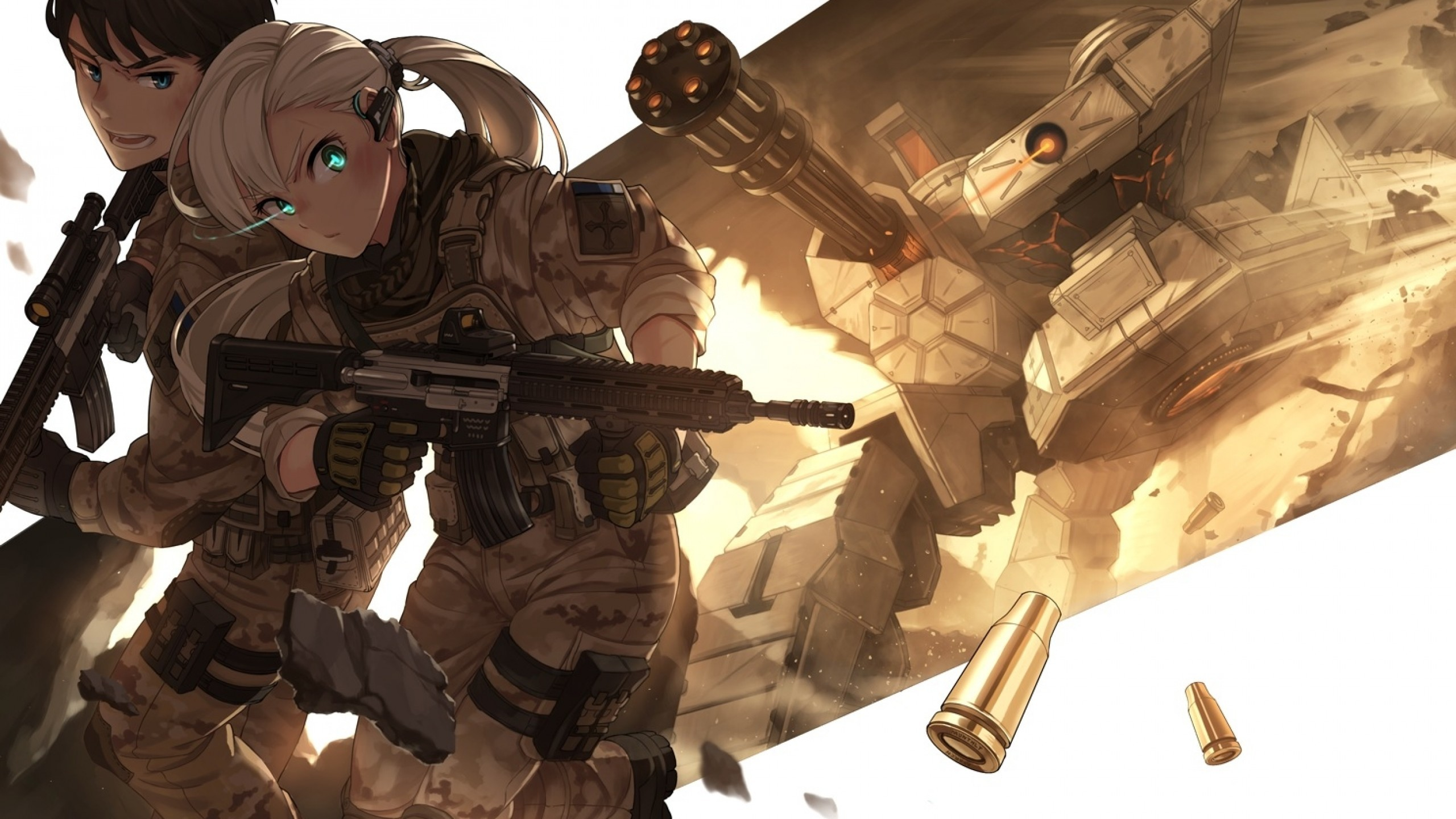 Anime Girl, Military, Soldier, Anime Boy, Guns, White Hair, Battle