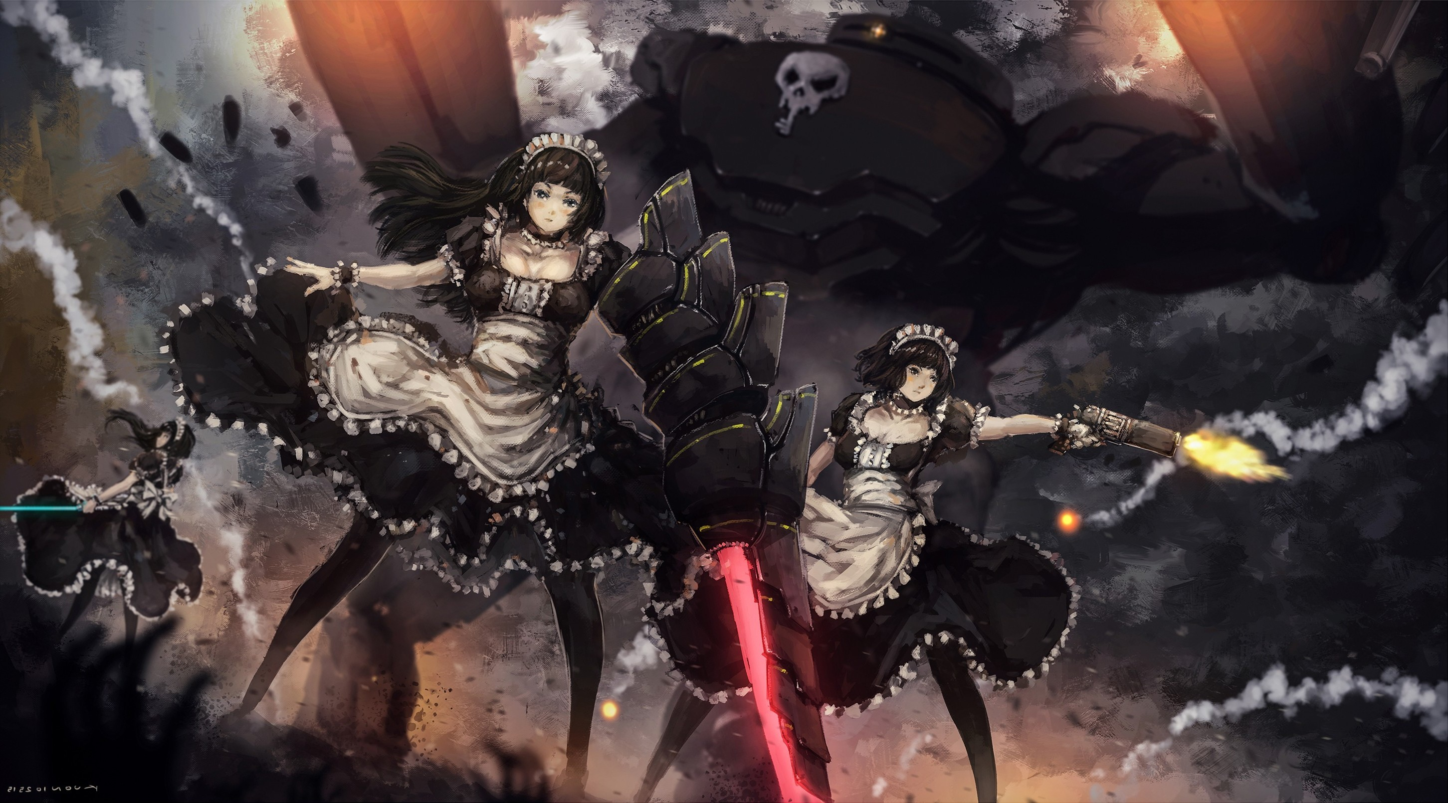 anime Girls, Original Characters, Maid Outfit, Black Hair, Headdress,  Weapon, Gun Wallpapers HD / Desktop and Mobile Backgrounds