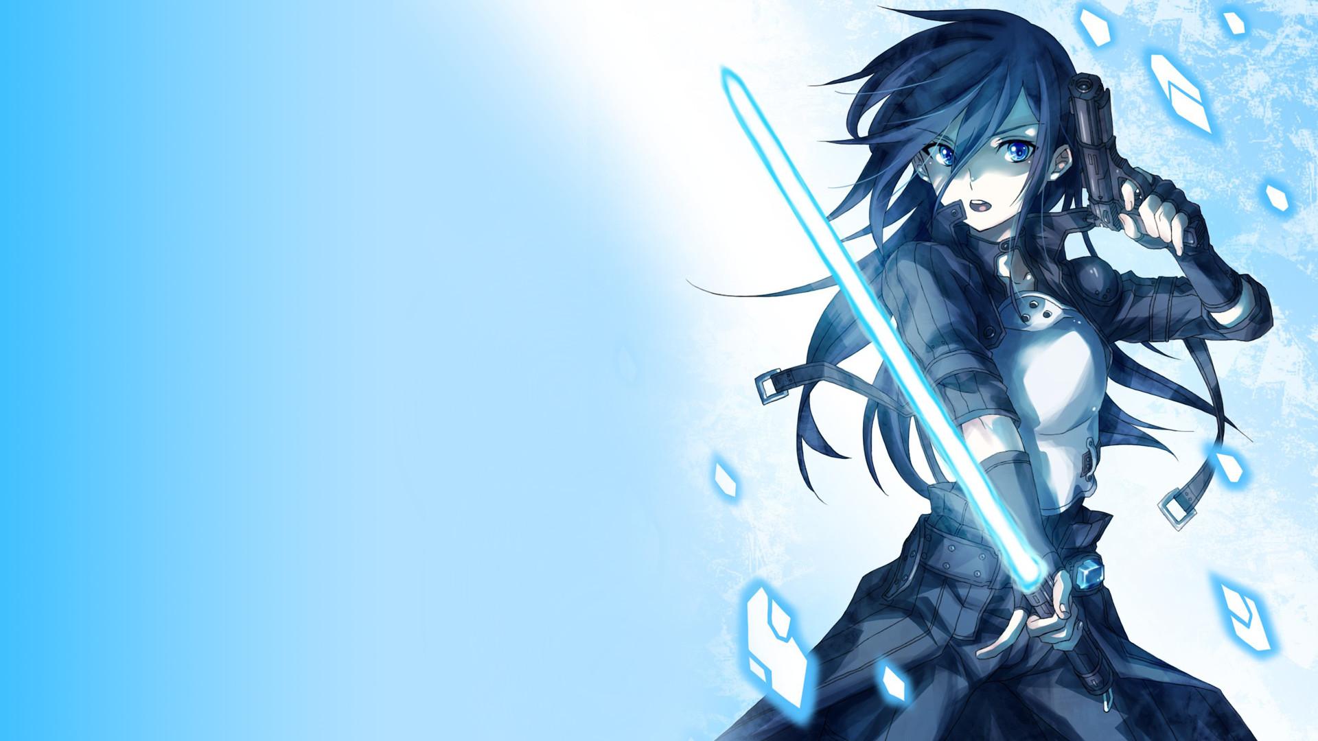 Anime Girl With Gun And Sword Wallpaper