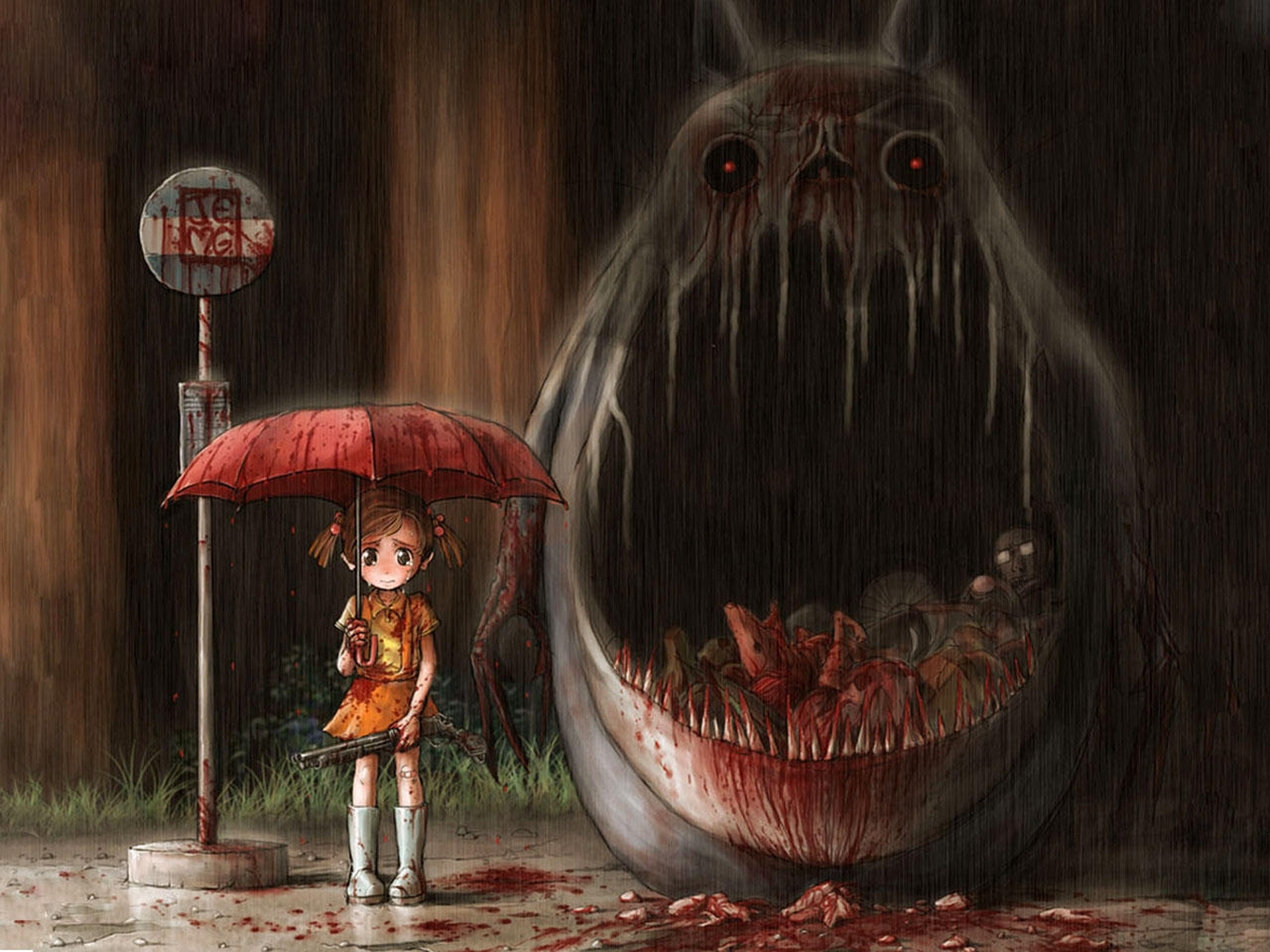 My Neighbor Totoro, monster, girl, gun, rain, umbrella, anime