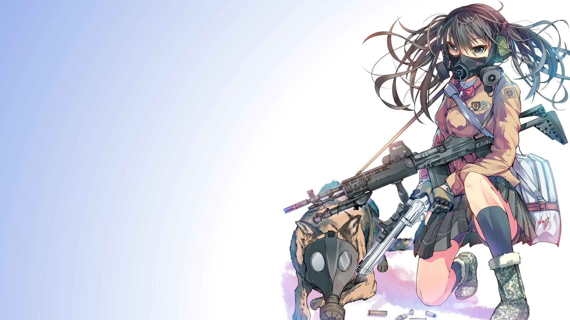 Anime anime anime girls gun German Shepherd .357 Magnum weapon  twintails original characters Daito