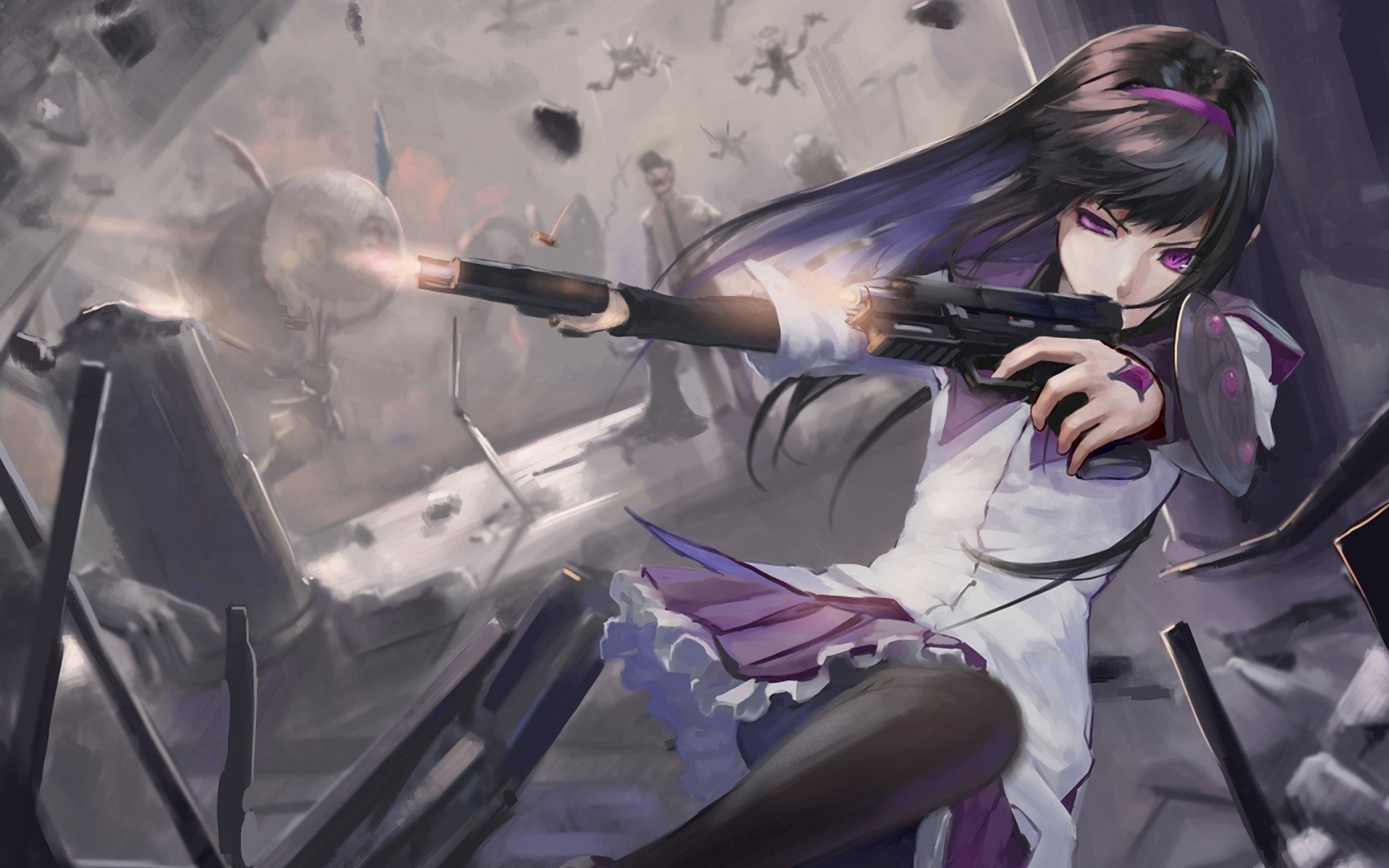 Anime Guns Girls Mahou Shoujo Madoka Magica Akemi Homura With