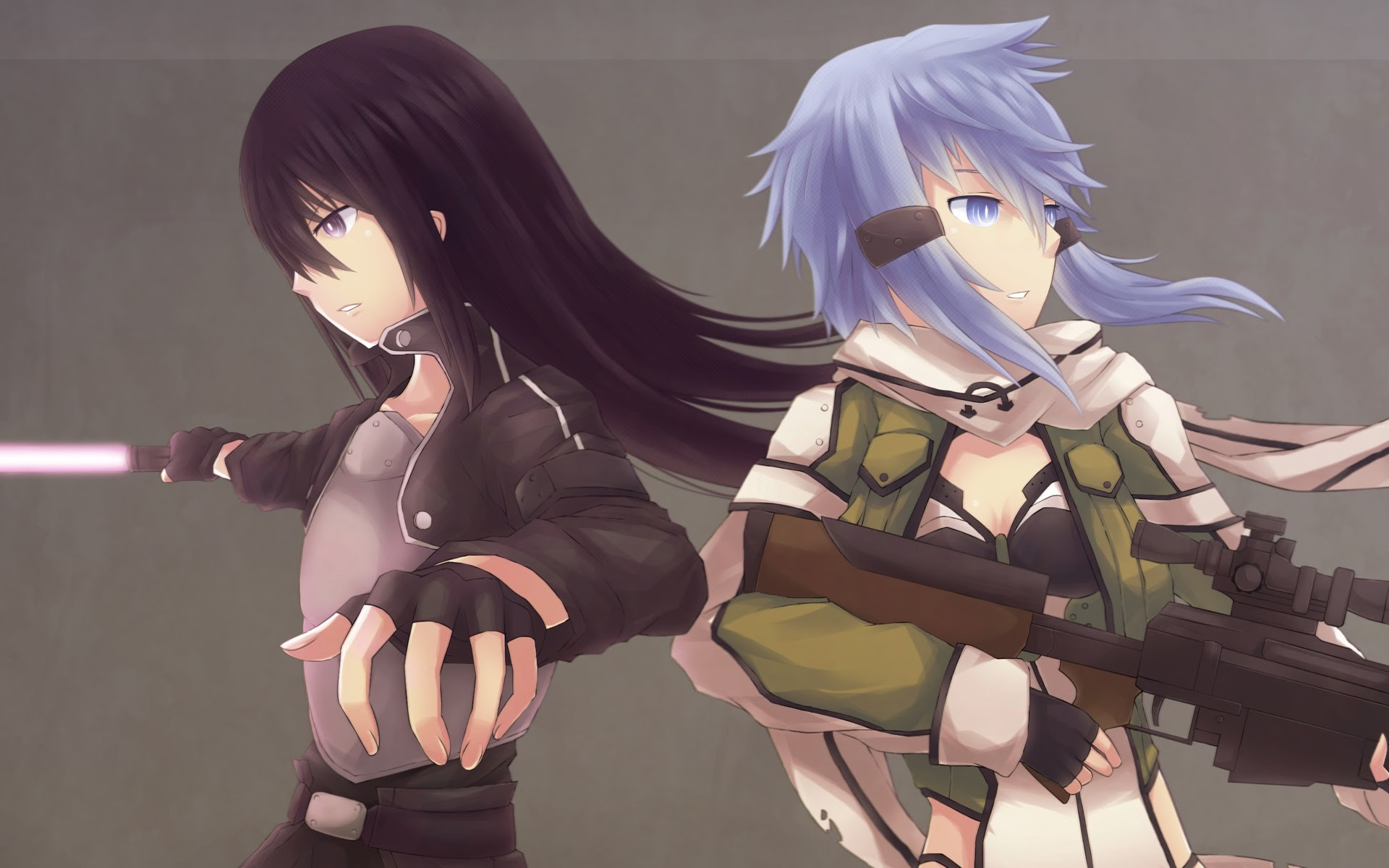sinon kirito sword art online 2 gun gale online anime 2014 hd wallpaper