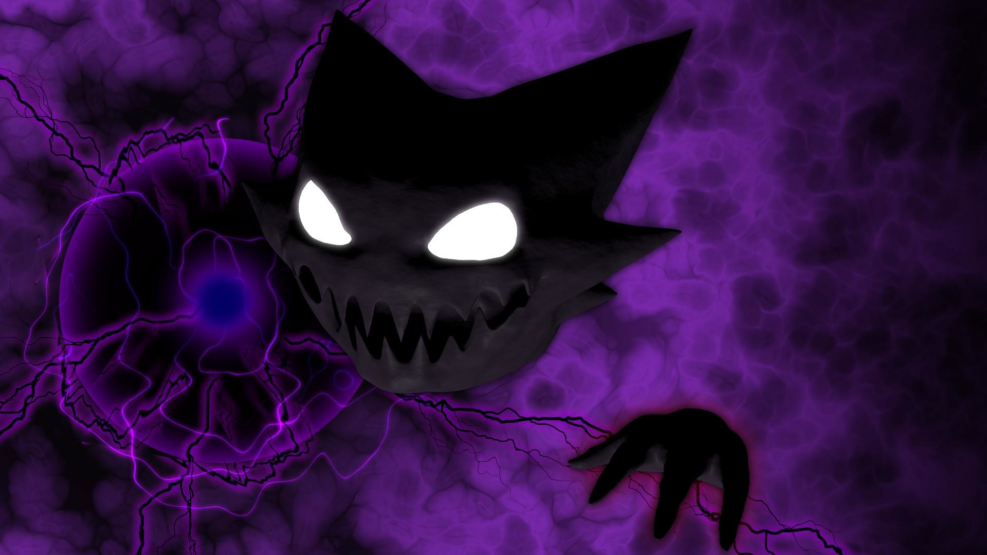 I made a Haunter using shadowball (wallpaper quality 1920×1080) what do you  guys think?